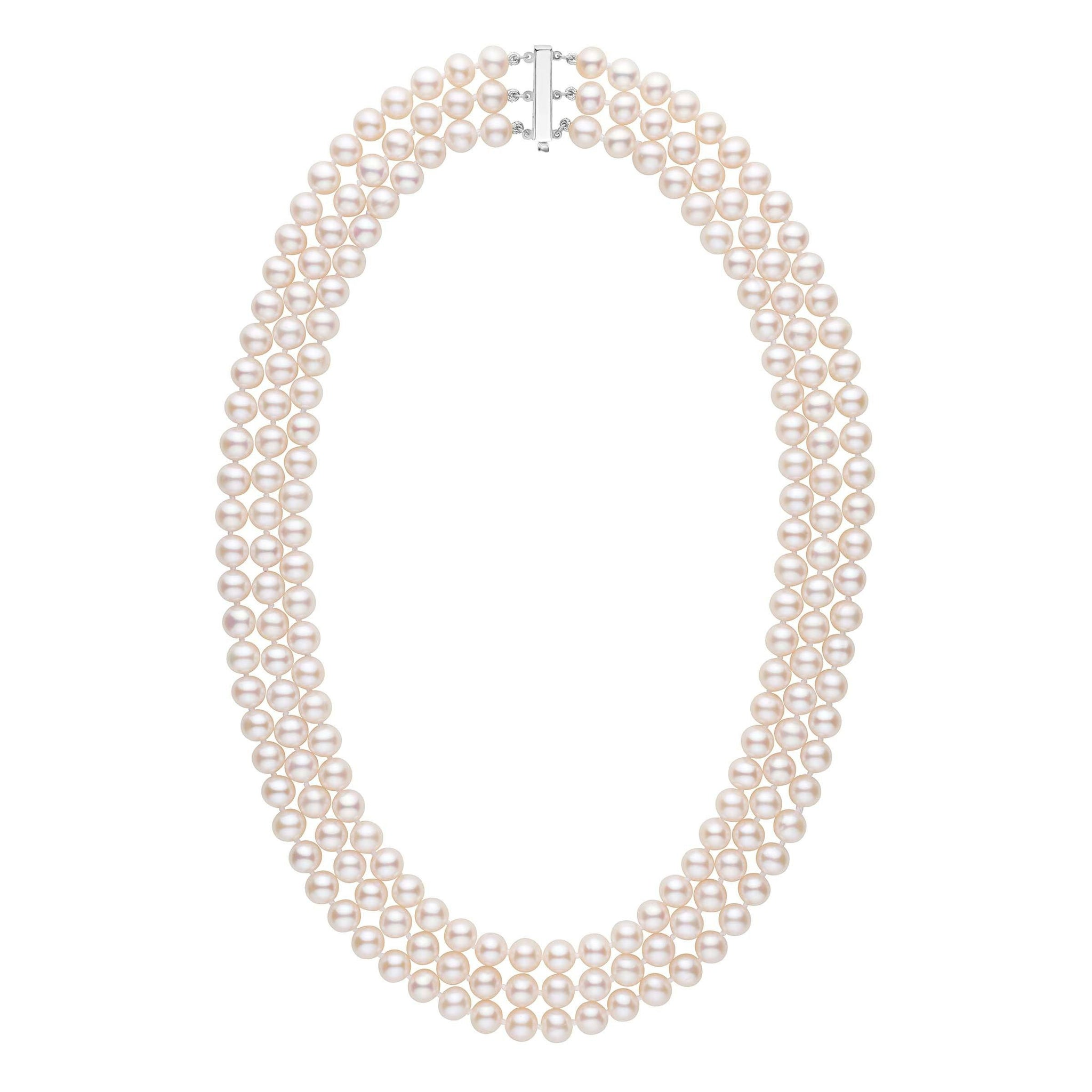 6 5-7 0 mm Triple-Strand AAA White Freshwater Pearl Necklace