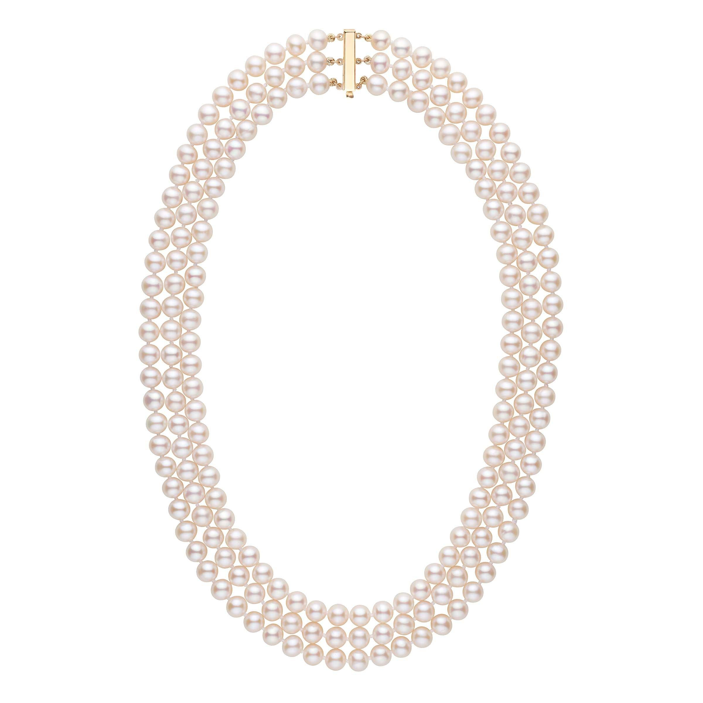 6.5-7.0 mm Triple-Strand AAA White Freshwater Pearl Necklace