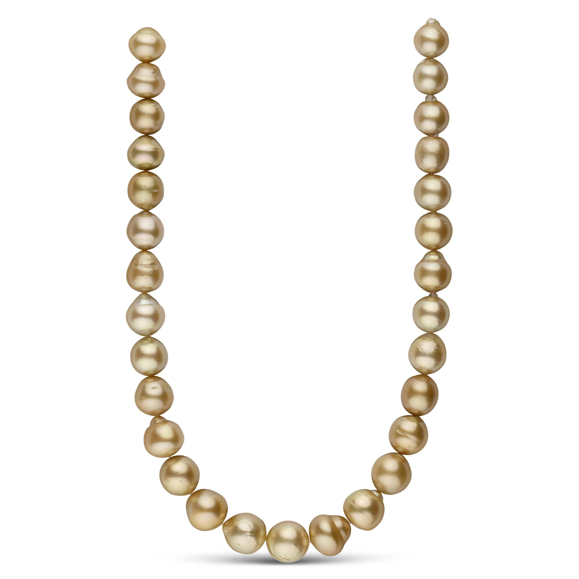 12.5-14.9 mm AA+ Golden South Sea Baroque Necklace