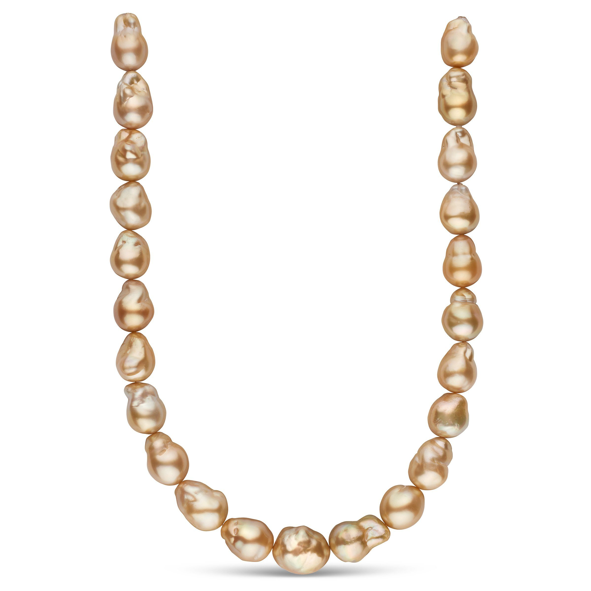 14.0-16.5 mm AA+/AAA Golden South Sea Baroque Pearl Necklace