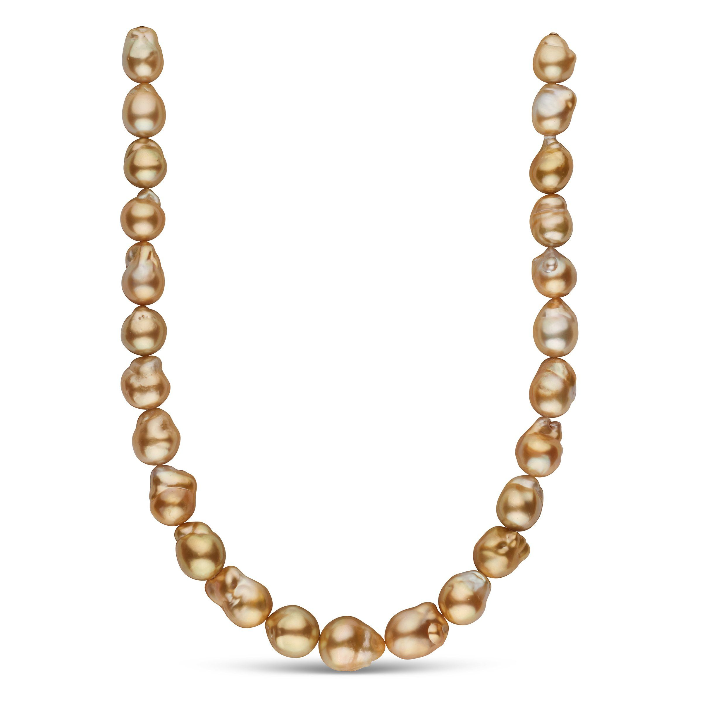 12.0-16.4 mm AA+/AAA Golden South Sea Baroque Pearl Necklace