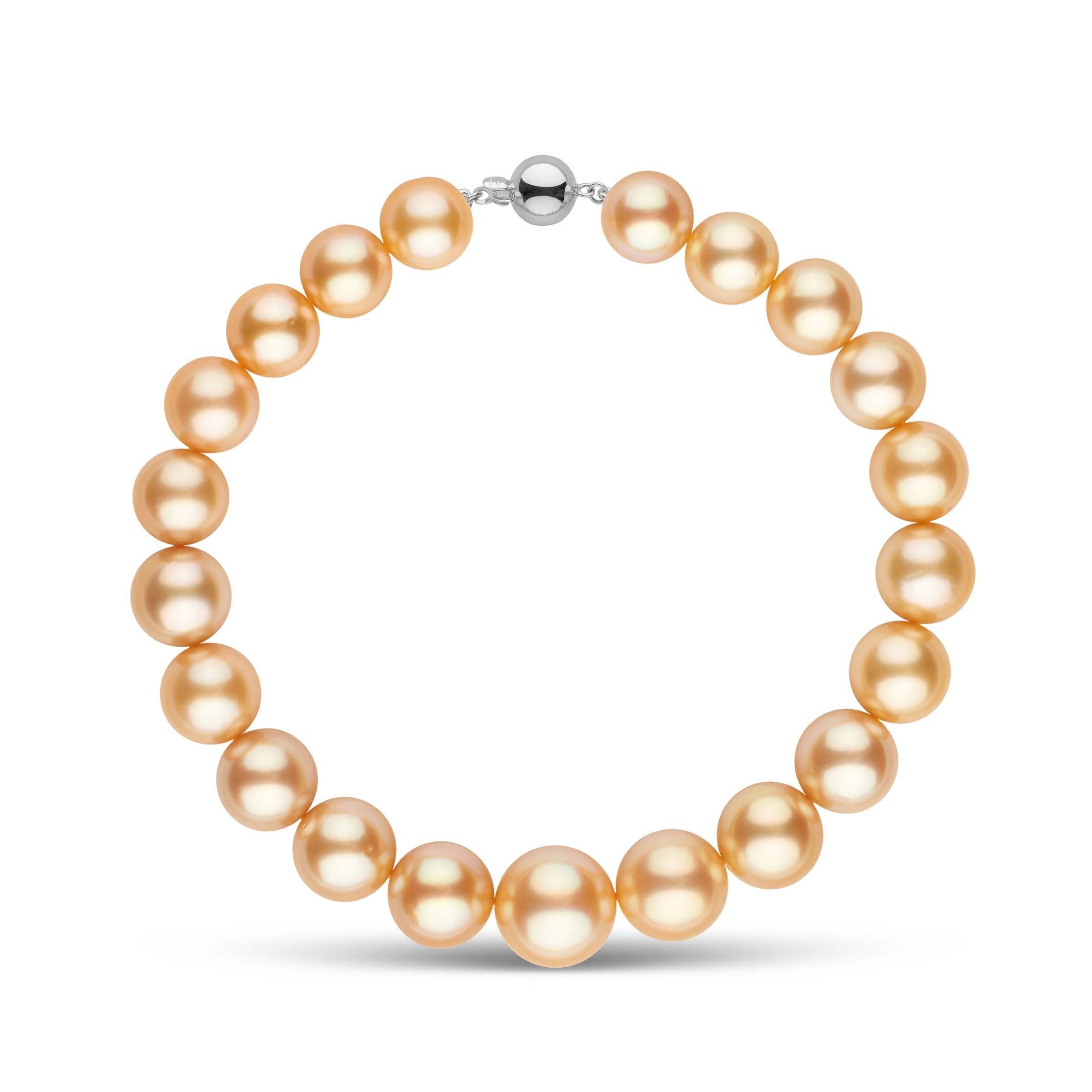 9.0-11.7 mm AAA Round Golden South Sea Pearl Bracelet