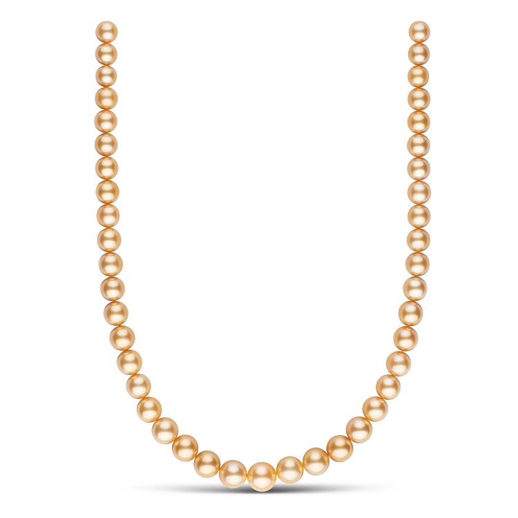 8.4-11.6 mm AA+/AAA Round Golden South Sea Pearl Necklace