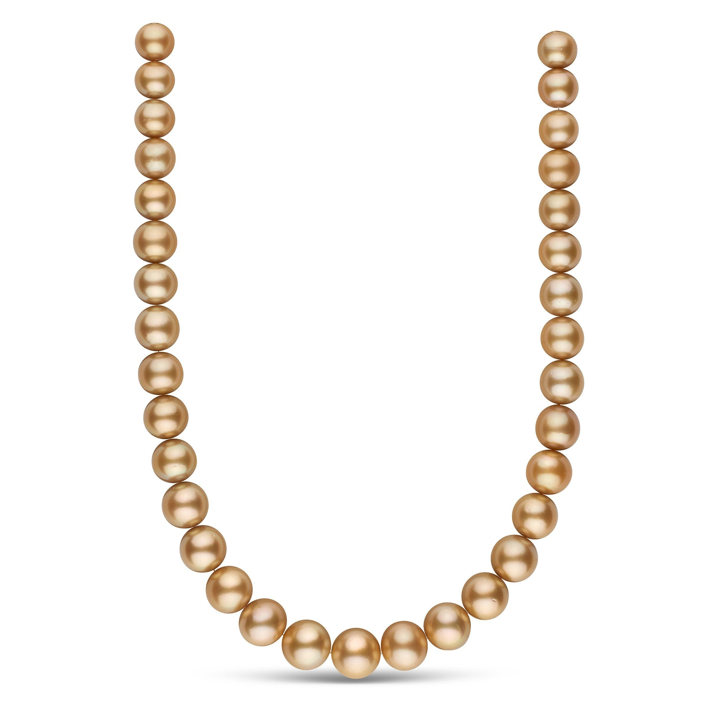 11.6-14.7 mm AA+/AAA Golden South Sea Round Pearl Necklace