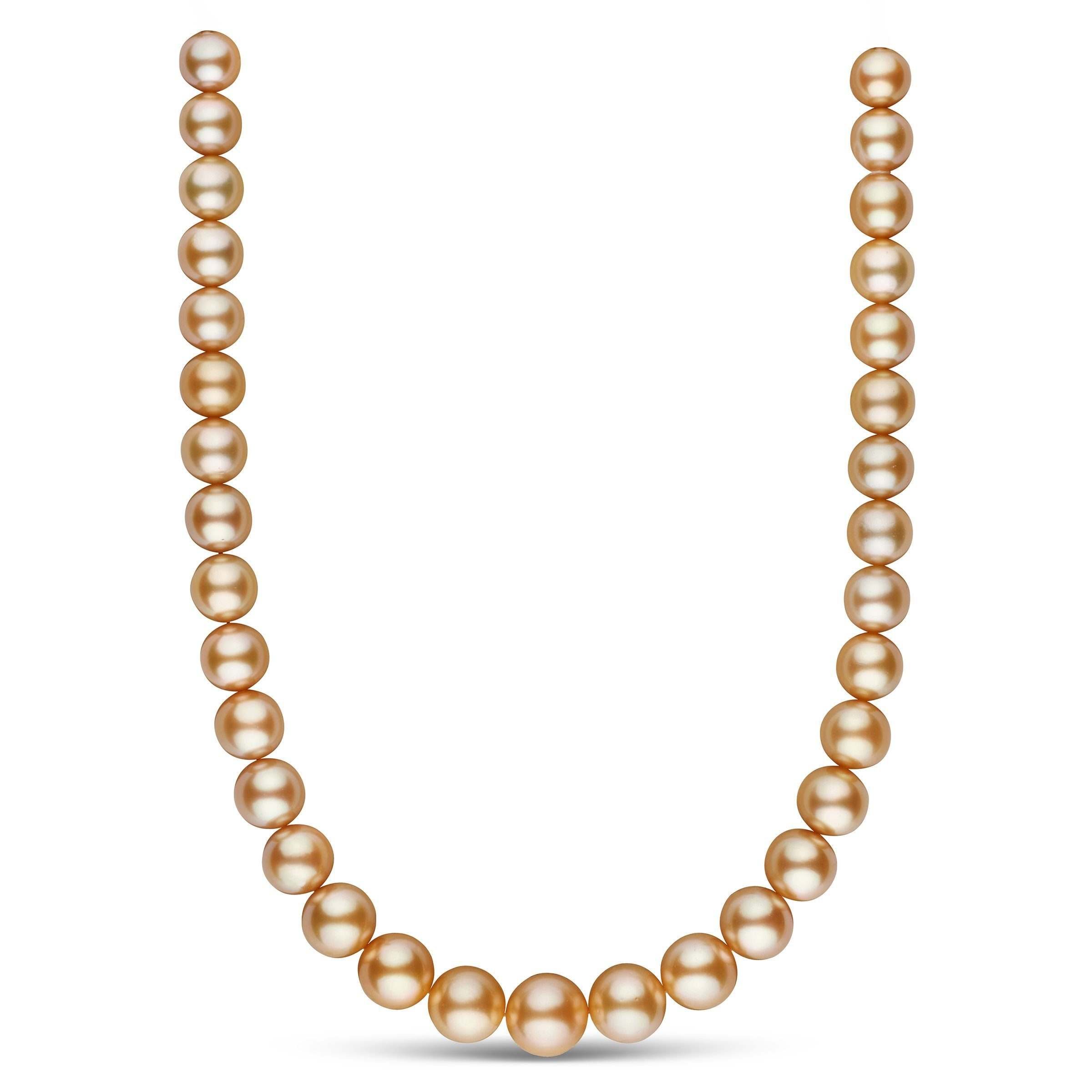 11.0-14.5 mm AA+/AAA Golden South Sea Round Pearl Necklace
