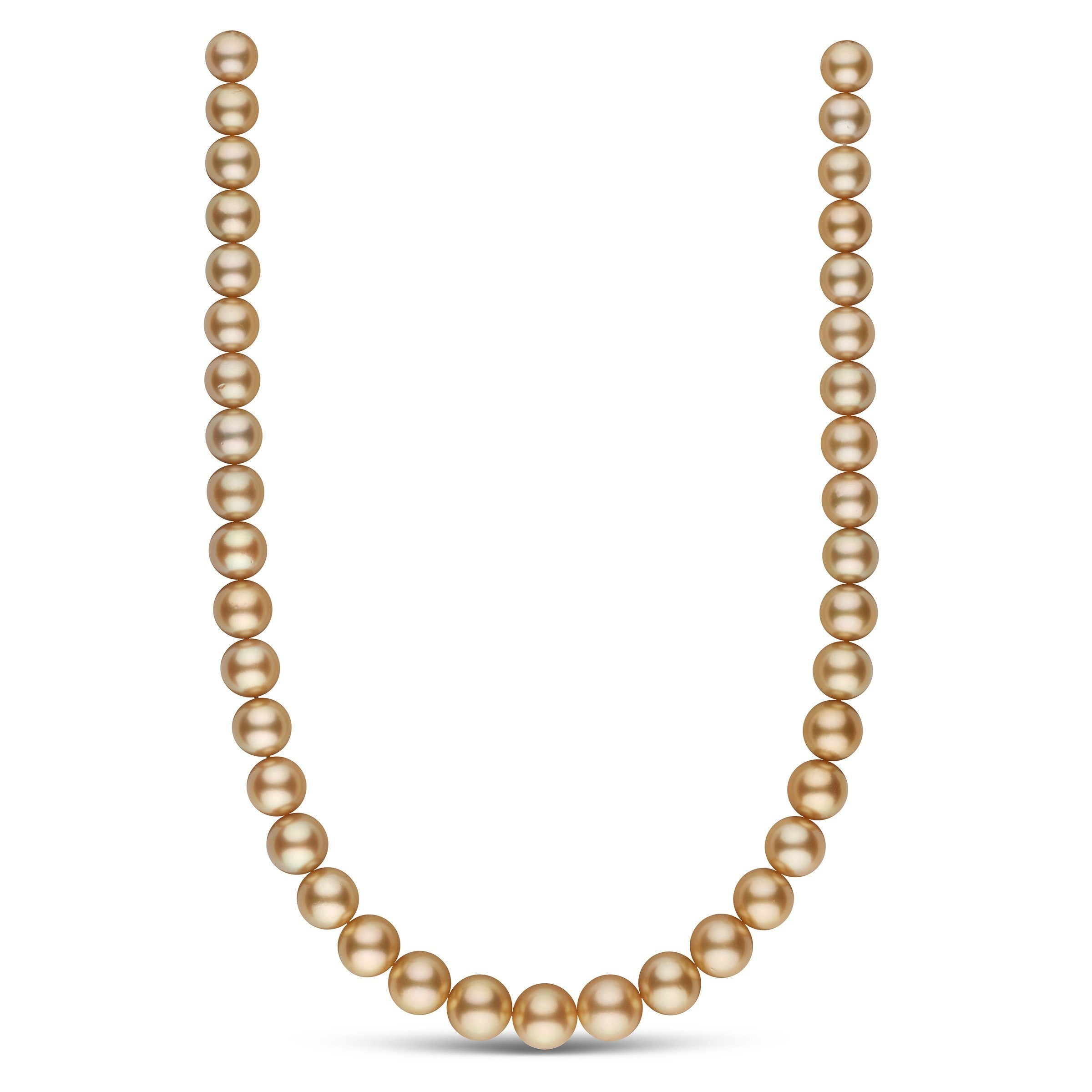10.2-12.7 mm AA+/AAA Golden South Sea Round Pearl Necklace