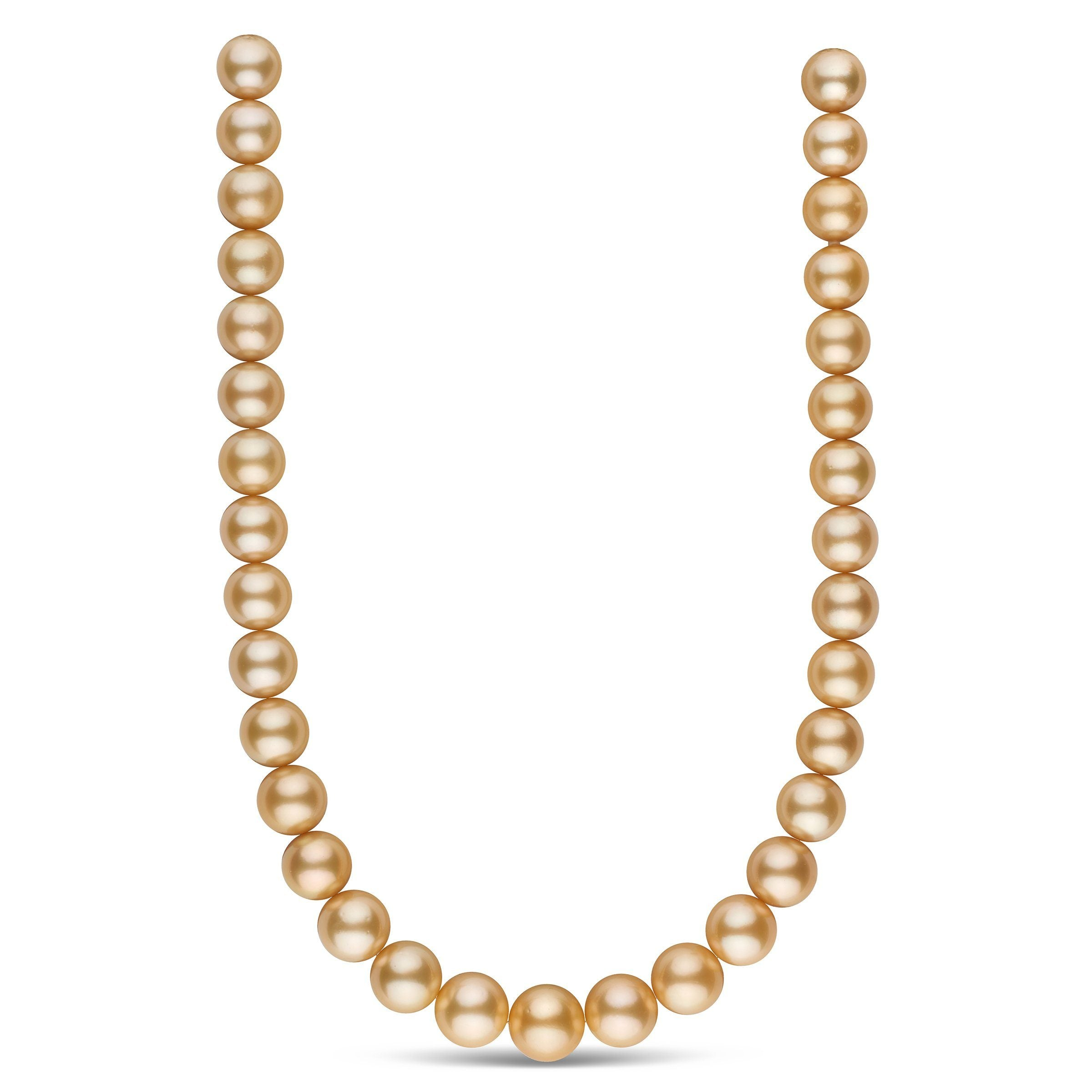 13.1-15.4 mm AAA Golden South Sea Round Pearl Necklace