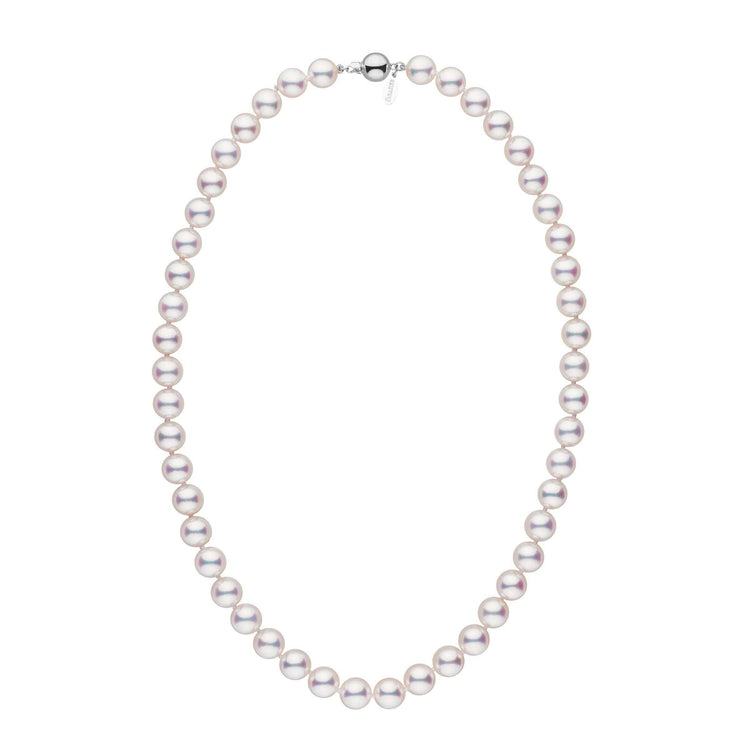 8.5-9.0 mm 18 inch White Hanadama Akoya Pearl Necklace