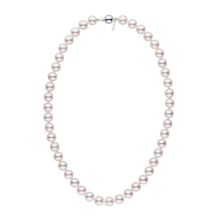 9.0-9.5 mm 18 Inch White Hanadama Akoya Pearl Necklace