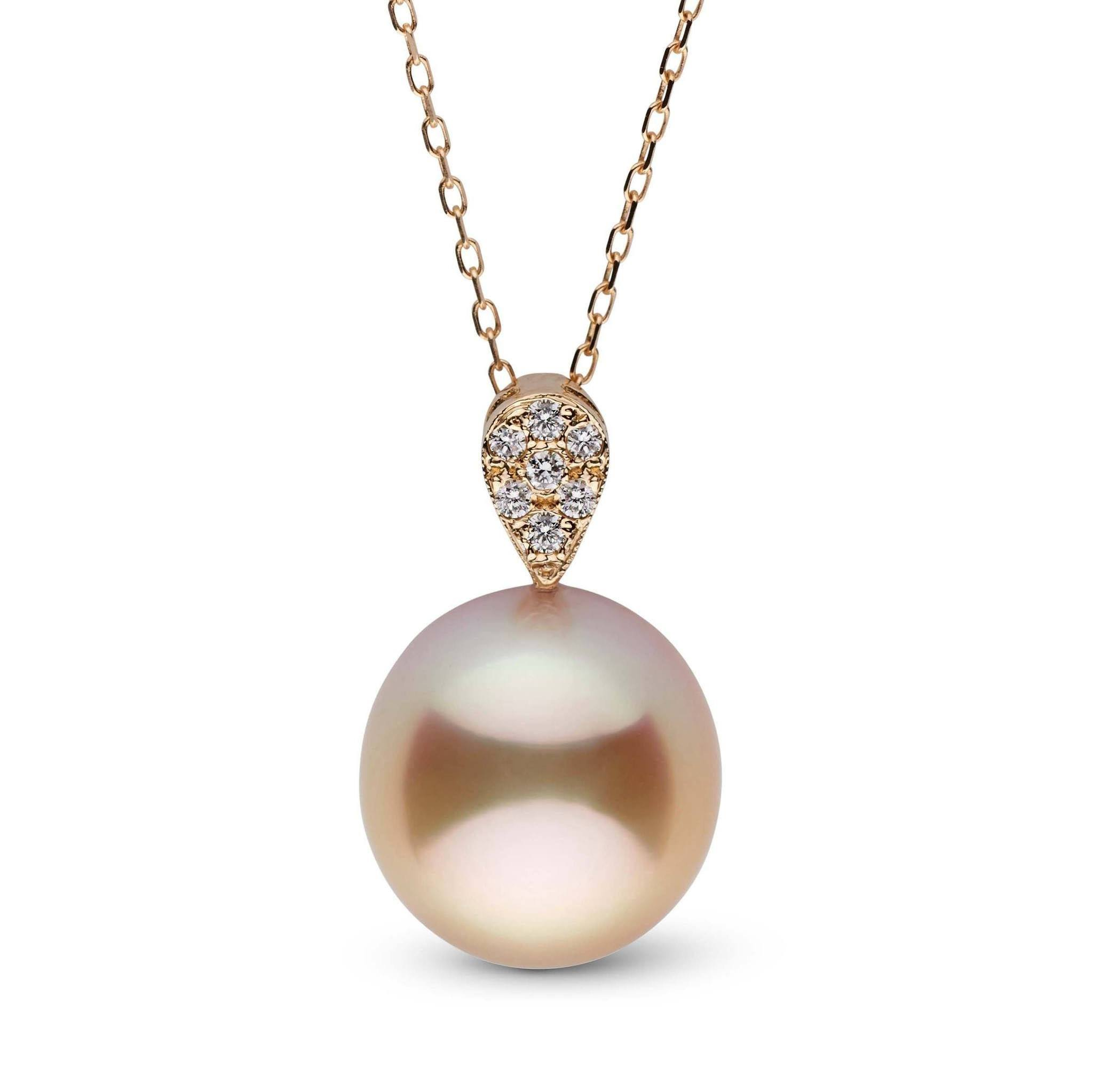 13.4 x 14.3 mm Golden South Sea Drop Pearl and Diamond Posh Pendant