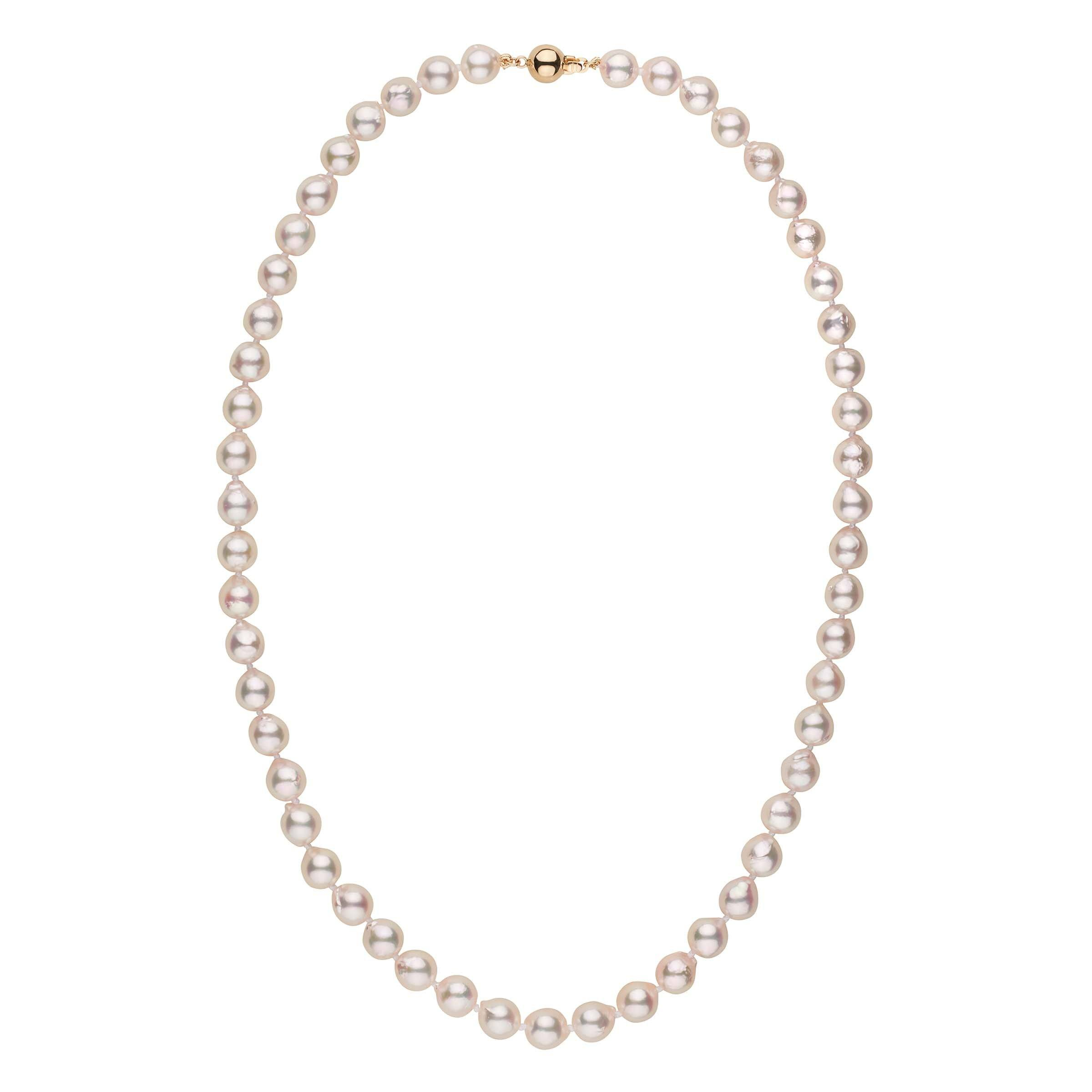 7.0-7.5 mm 18 Inch White Akoya Baroque Pearl Necklace
