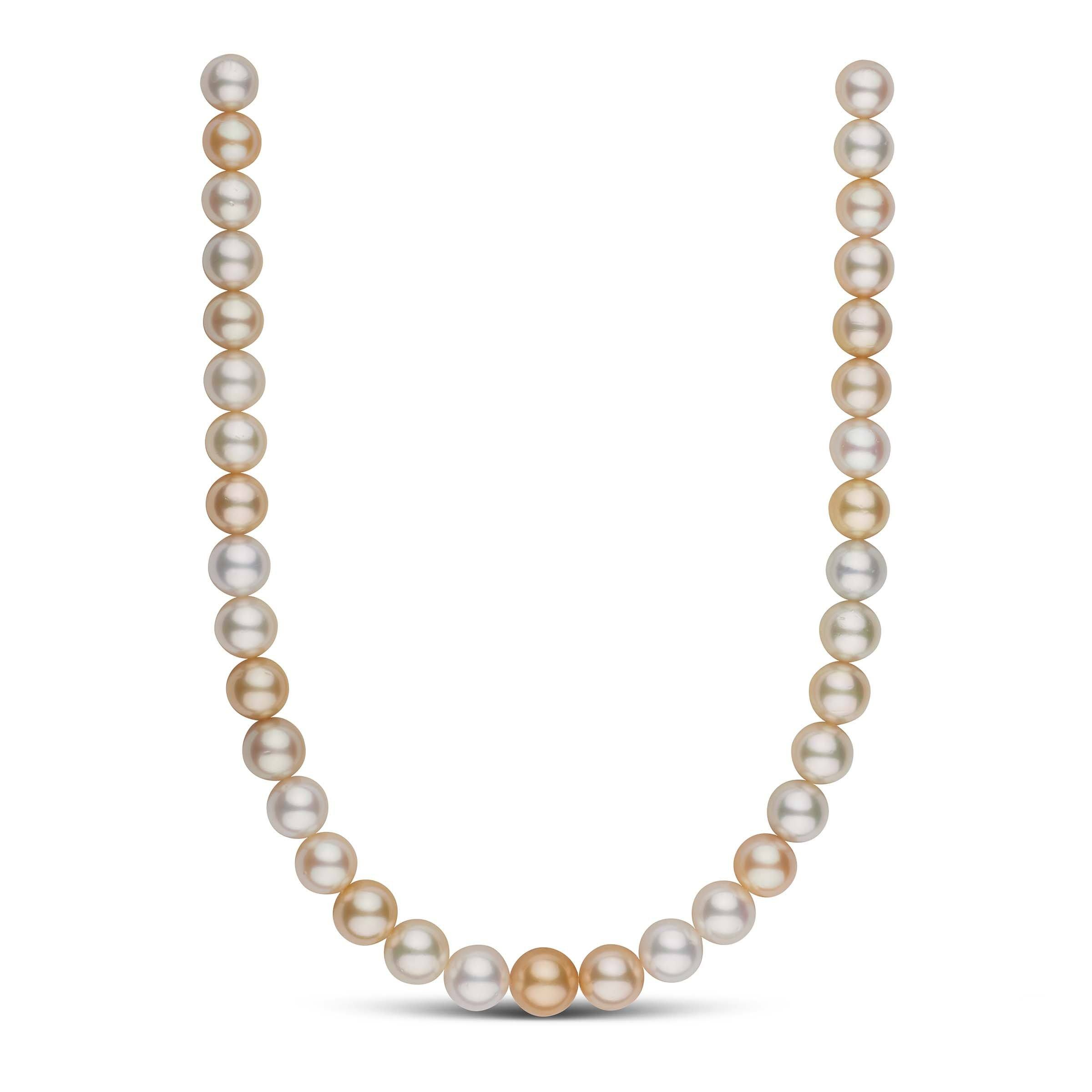 11.0-13.1 mm AA+ Mixed Round White and Golden South Sea Pearl Necklace