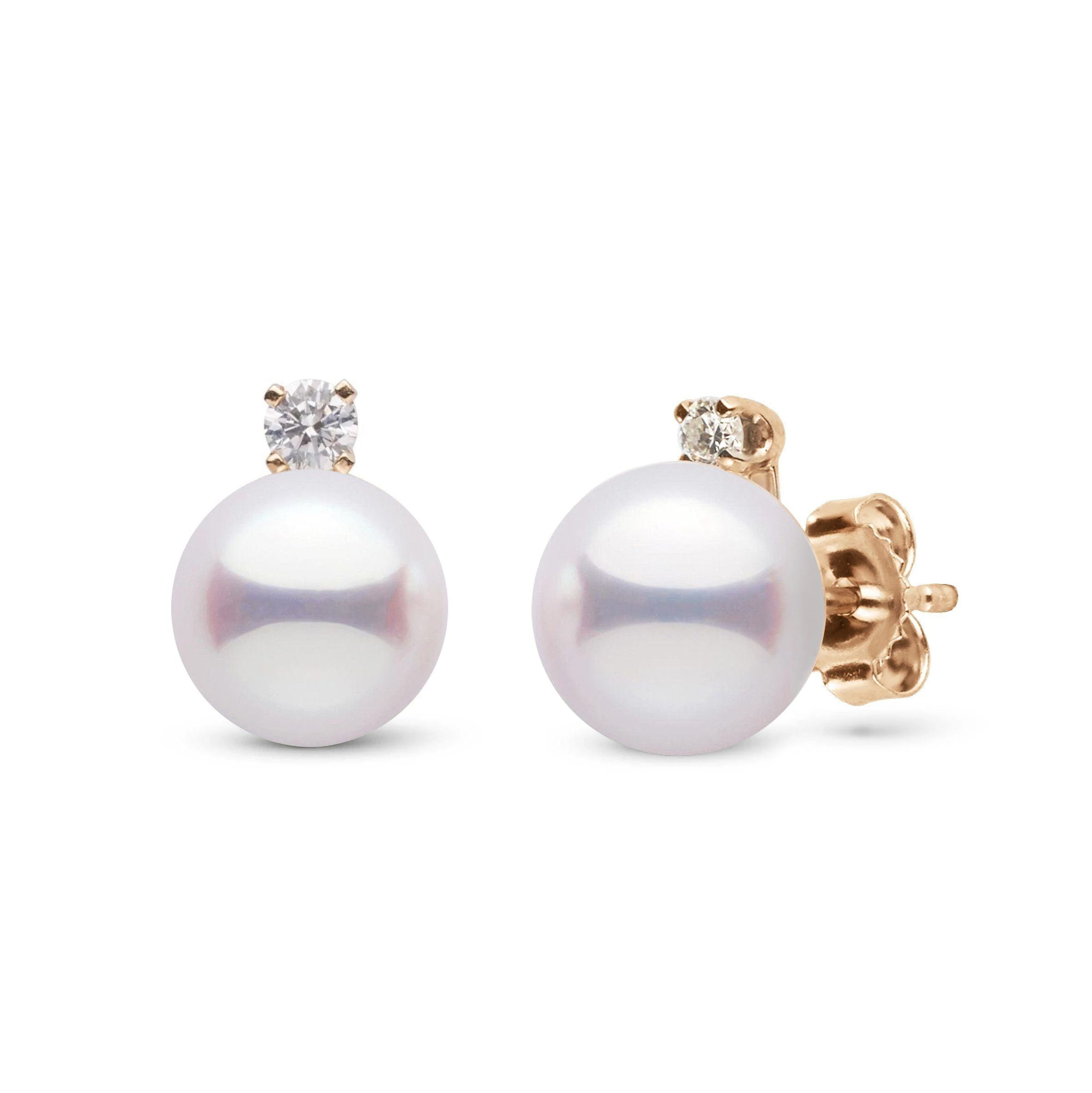 Starlight Collection 7.5-8.0 mm White Hanadama Pearl and Diamond Stud Earrings