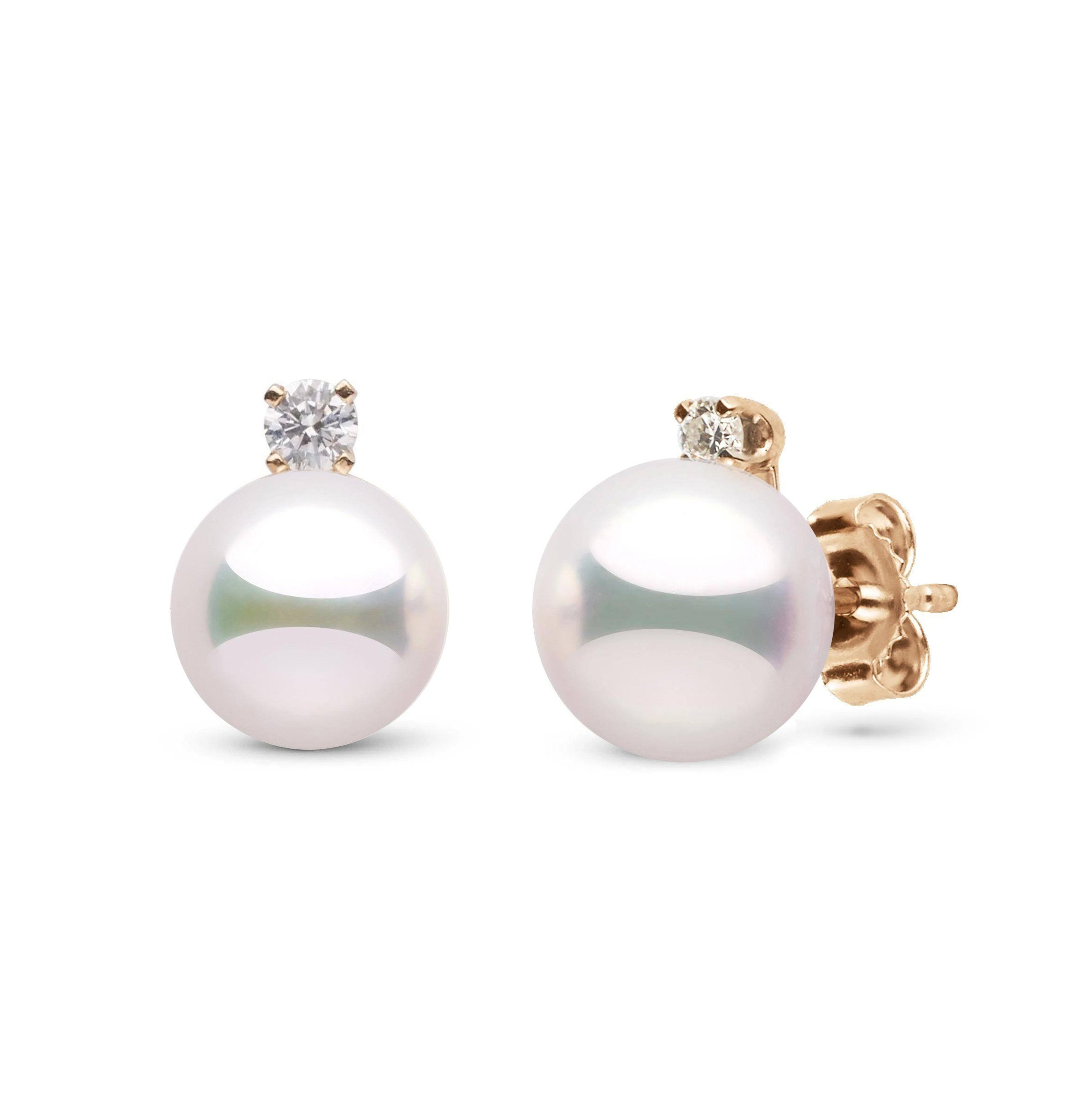 Starlight Collection 8.0-8.5 mm White Hanadama Pearl and Diamond Stud Earrings