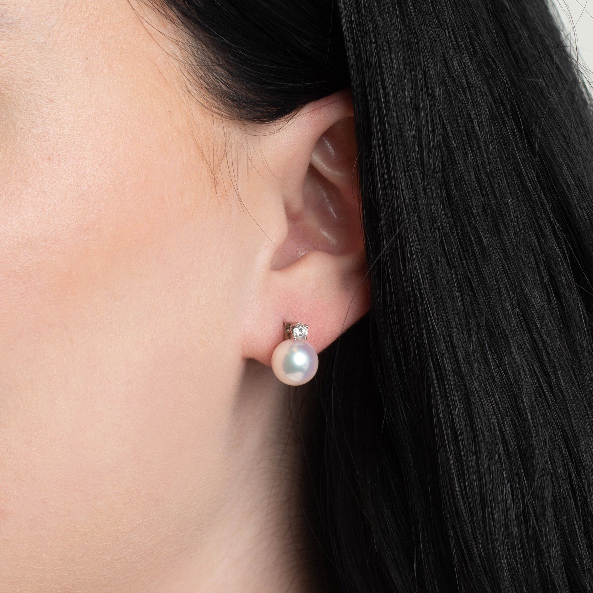 Starlight Collection 9.0-9.5 mm White Hanadama Pearl and Diamond Stud Earrings