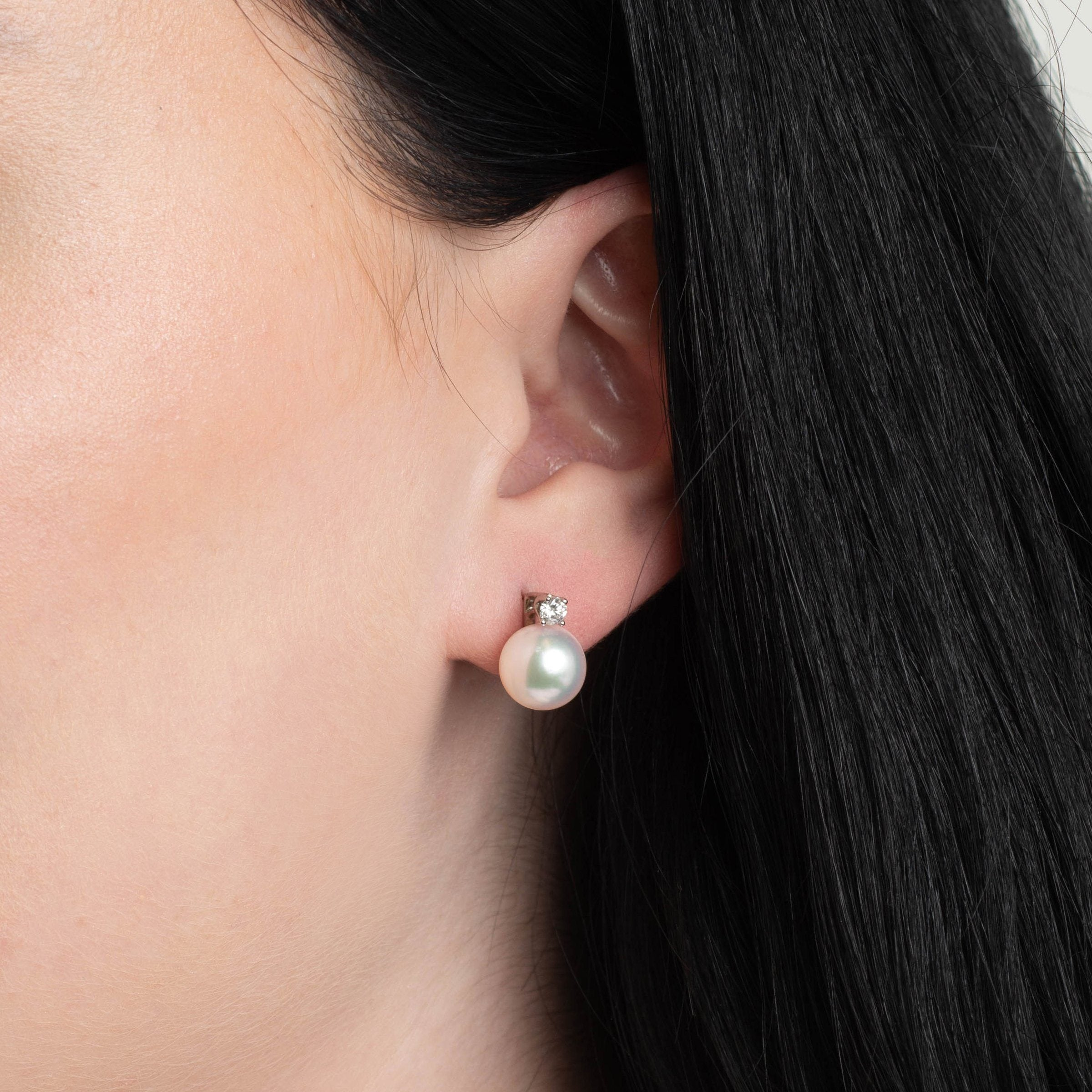 Starlight Collection 9.0-9.5 mm Natural White Hanadama Pearl and Diamond Stud Earrings