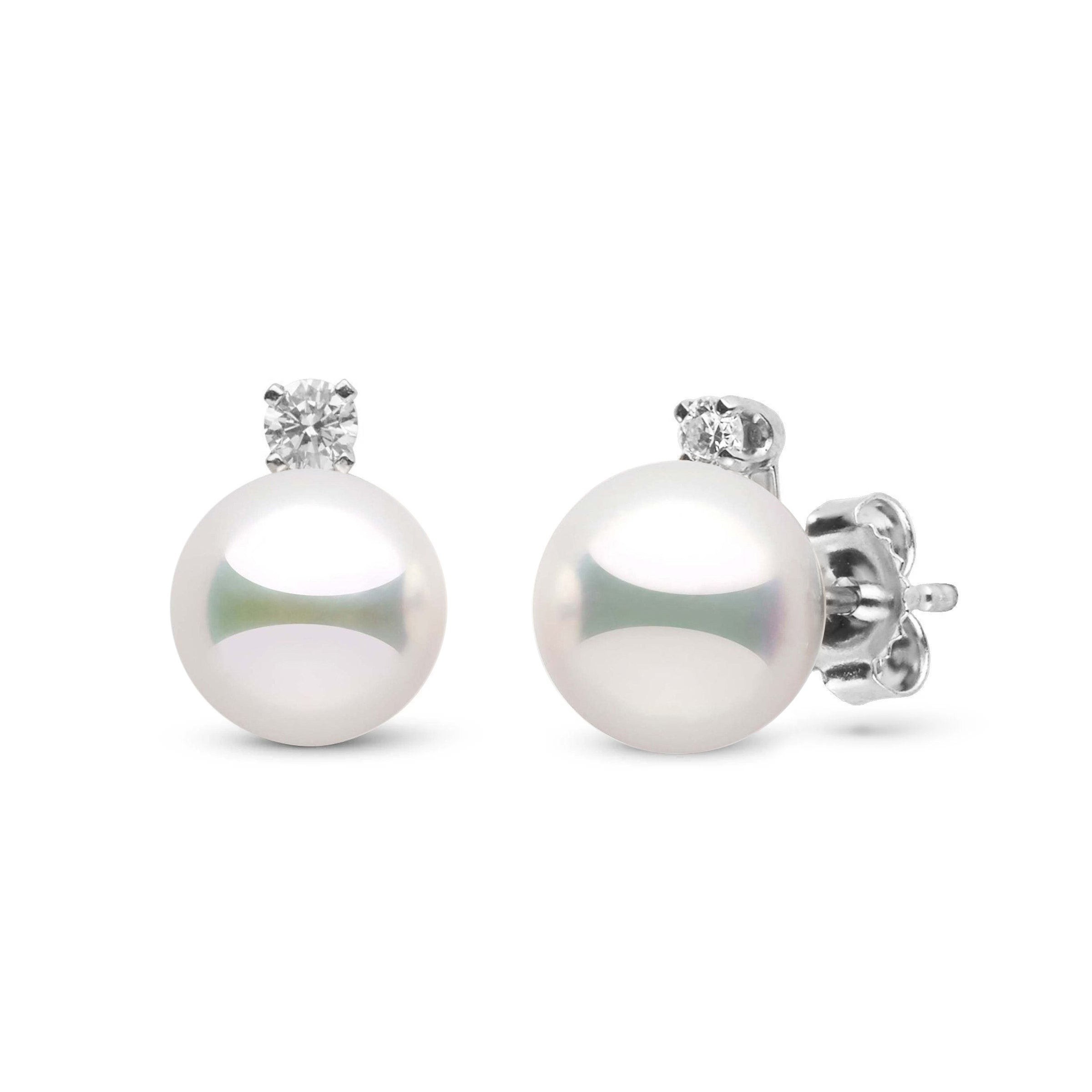 Starlight Collection 7.5-8.0 mm Natural White Hanadama Pearl and Diamond Stud Earrings