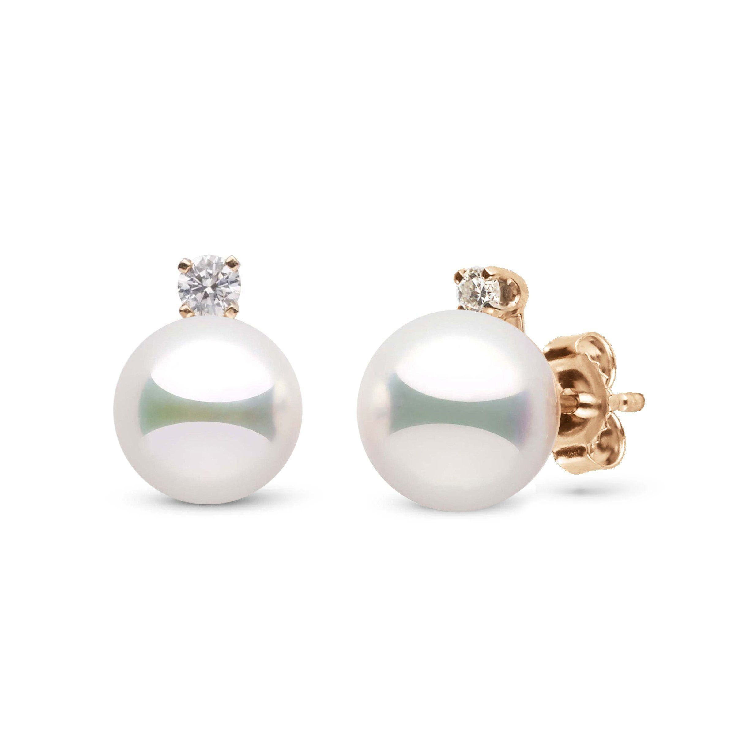 Starlight Collection 8.0-8.5 mm Natural White Hanadama Pearl and Diamond Stud Earrings