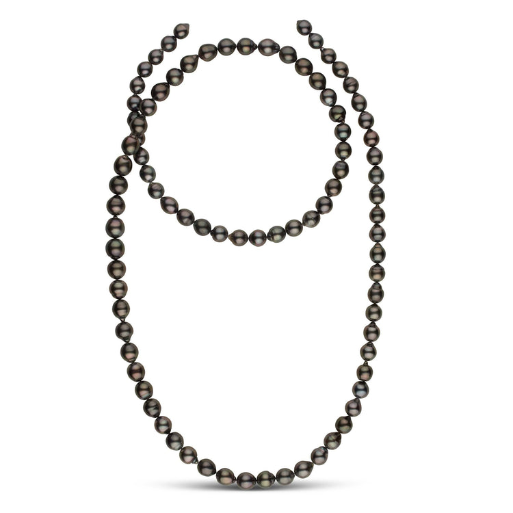 39-inch 8.4-10.6 mm AA+/AAA Drop Tahitian Pearl Necklace