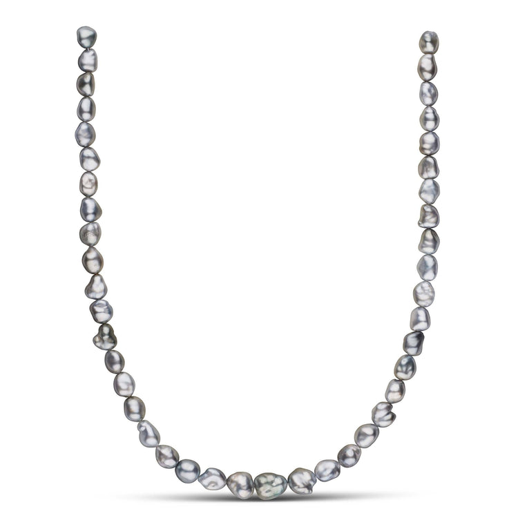 17-inch 7.2-9.8 mm Silver Gray Keshi Tahitian Pearl Necklace