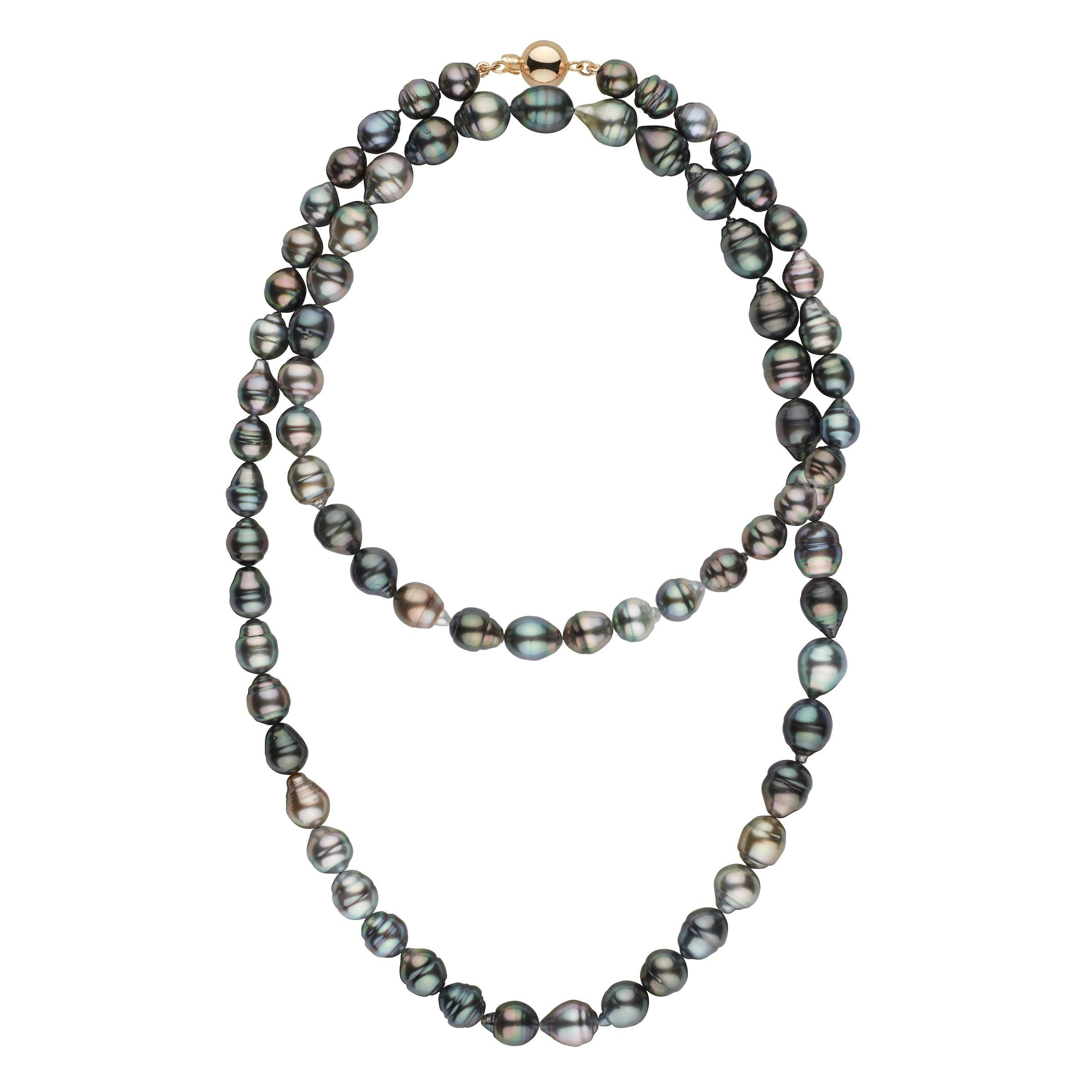 8.1-10.5 mm AA+/AAA Tahitian Baroque Pearl Necklace - 35 Inches