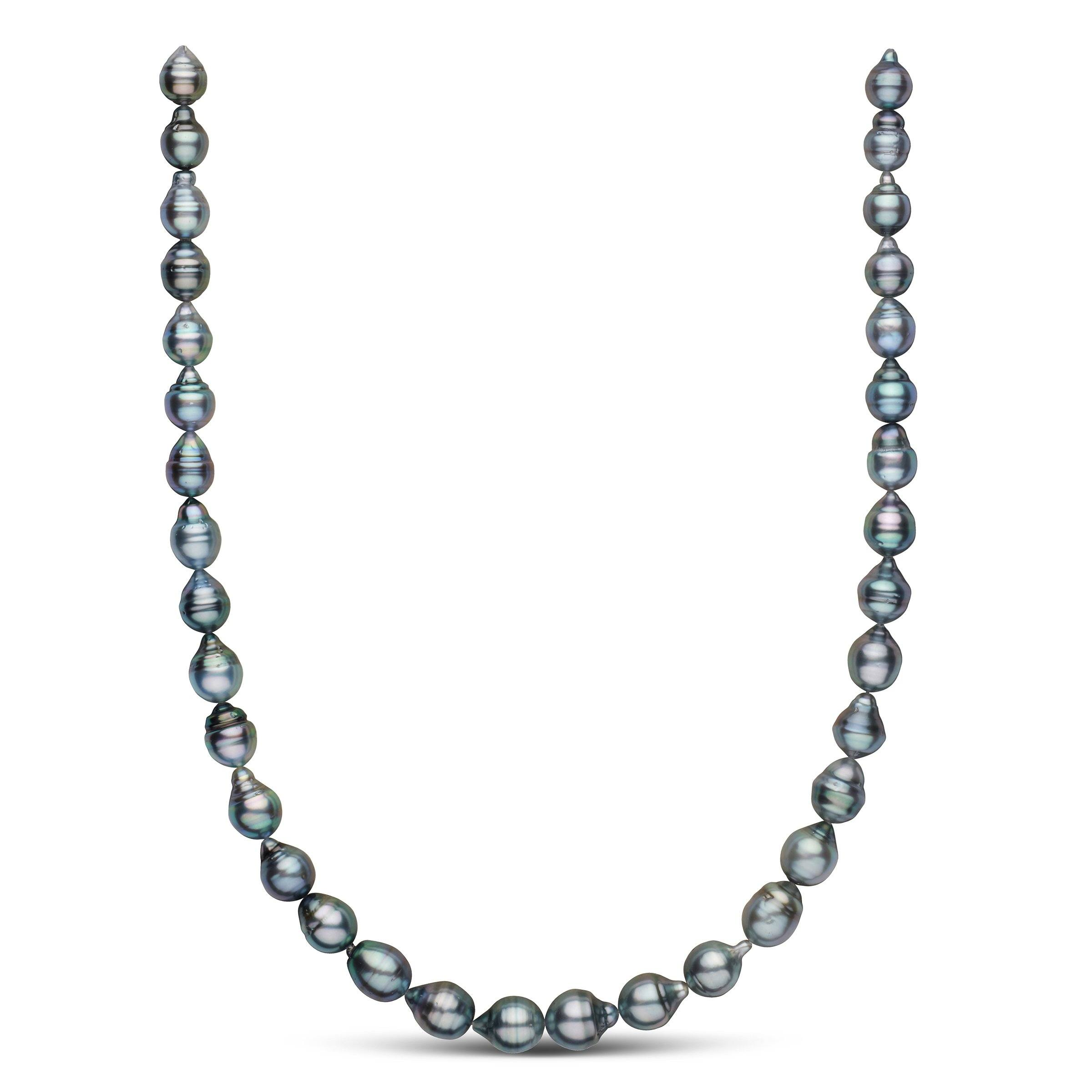 8.4-9.8 mm Baroque Tahitian Necklace with Silver Body Color and Blue Overtones