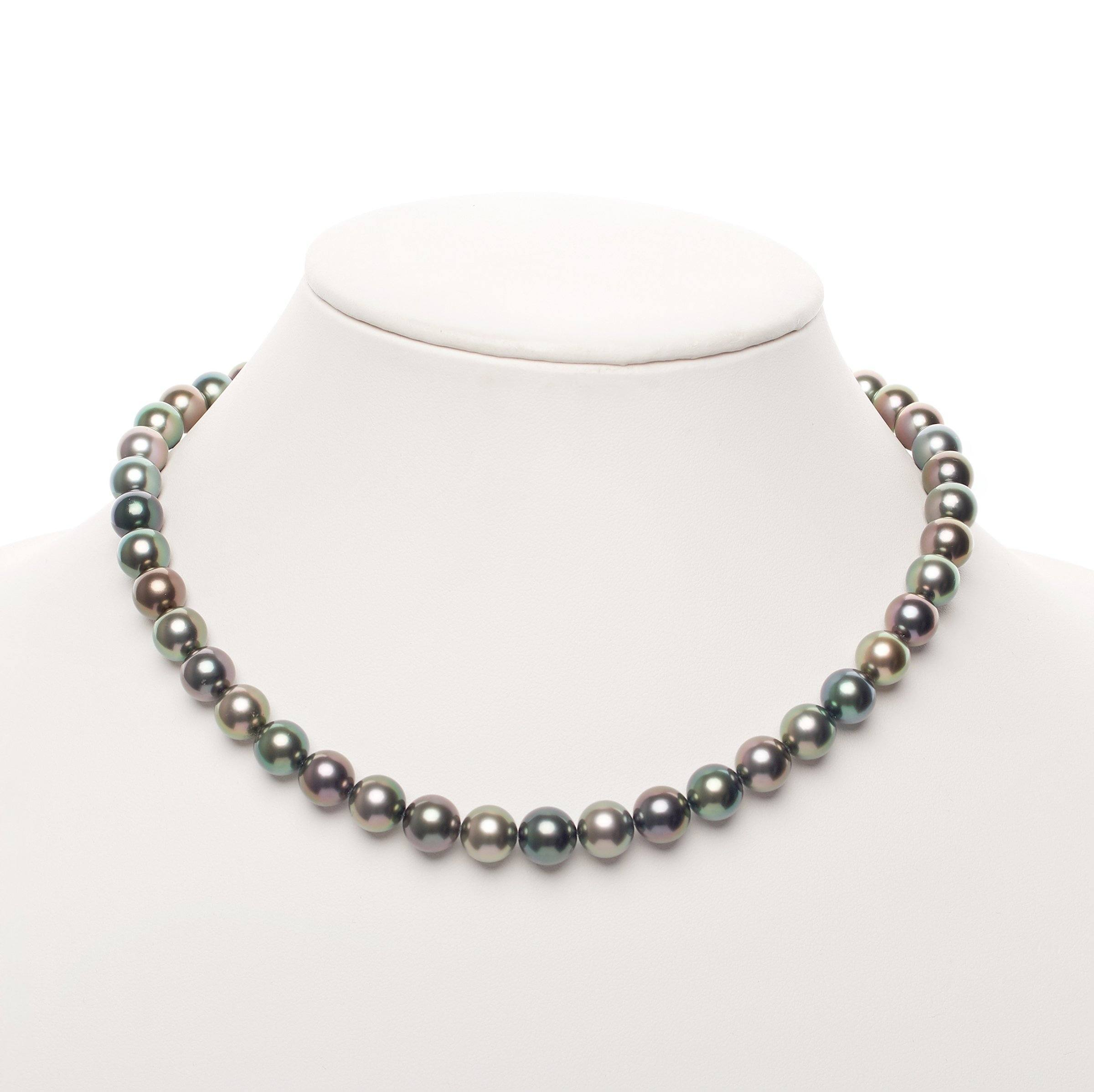 8.6-9.6 mm AAA Tahitian Multicolor Round Pearl Necklace