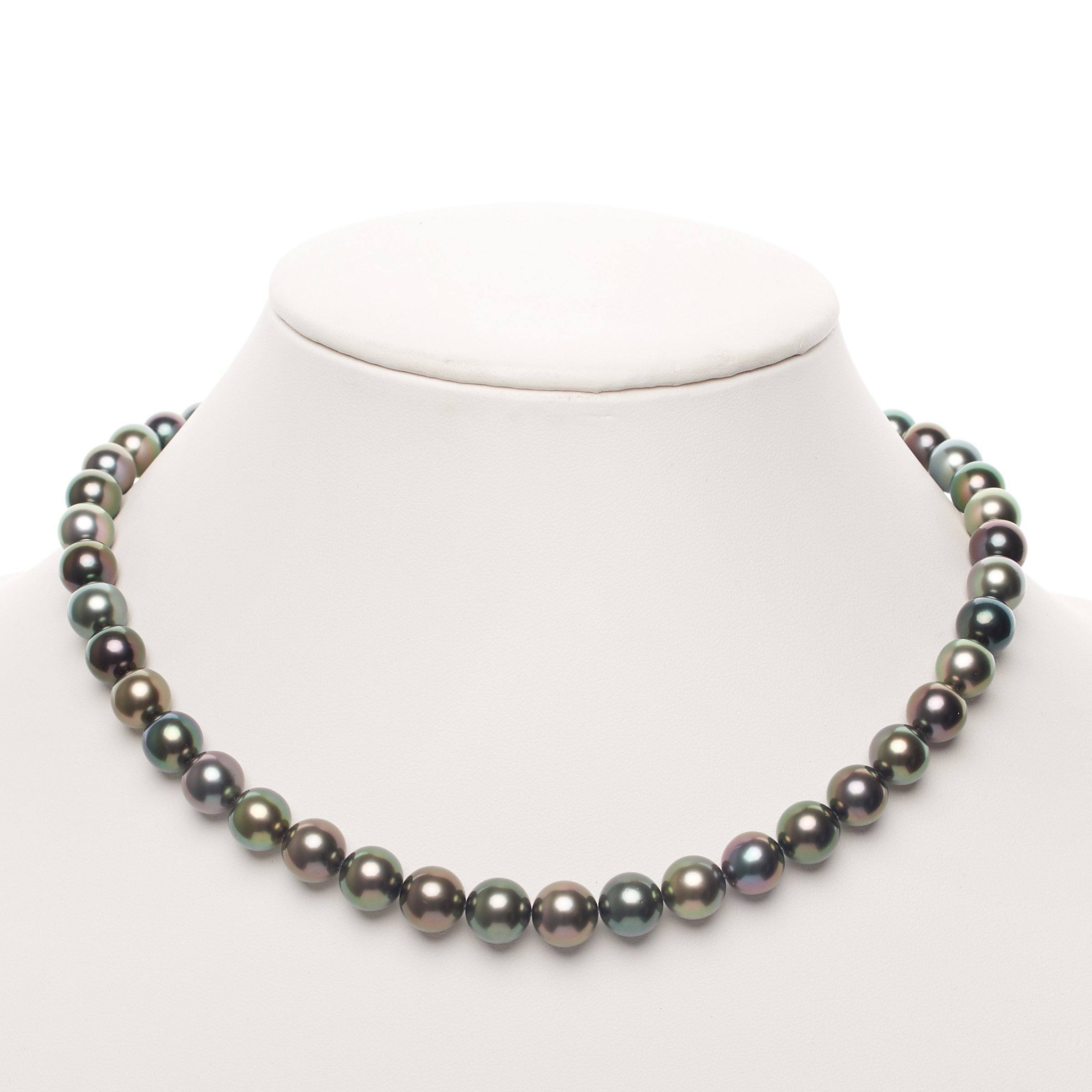 18-inch 8.3-9.8 mm AAA Round Multicolor Tahitian Pearl Necklace