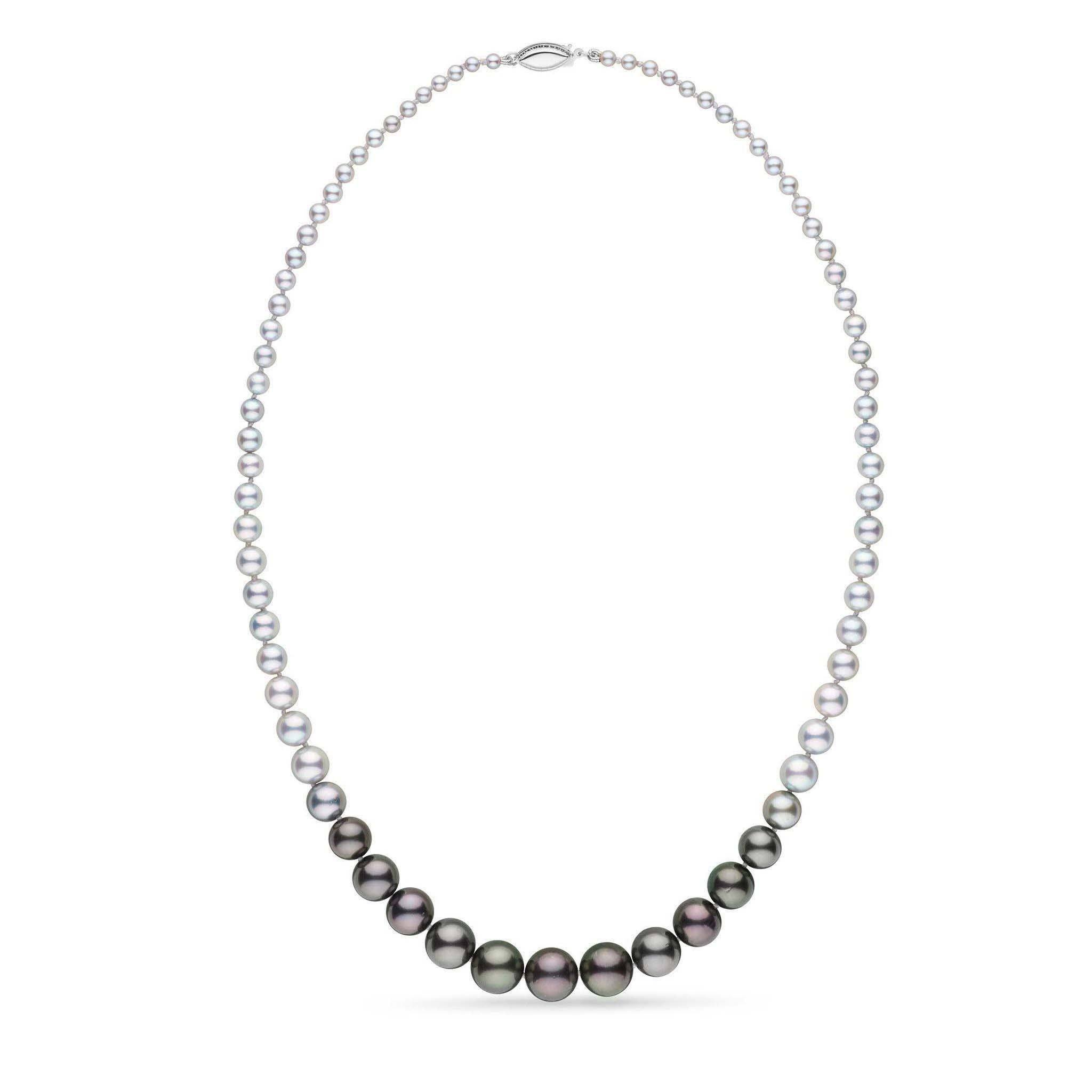 Ombre Collection 3.0-10.0 mm Akoya and Tahitian Pearl Necklace