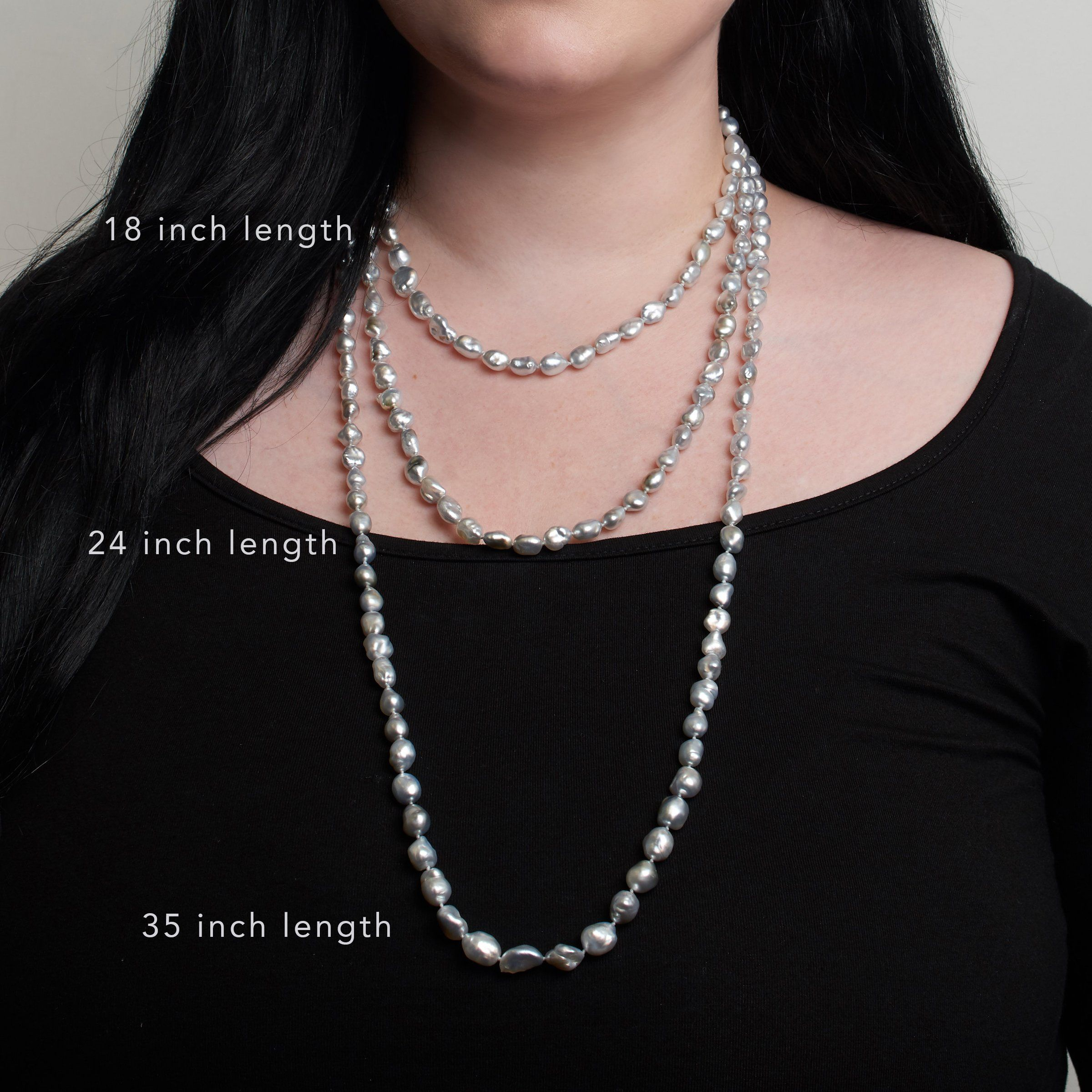 7.5-9.5 mm 18 Inch Light Silver Keshi Tahitian Pearl Necklace