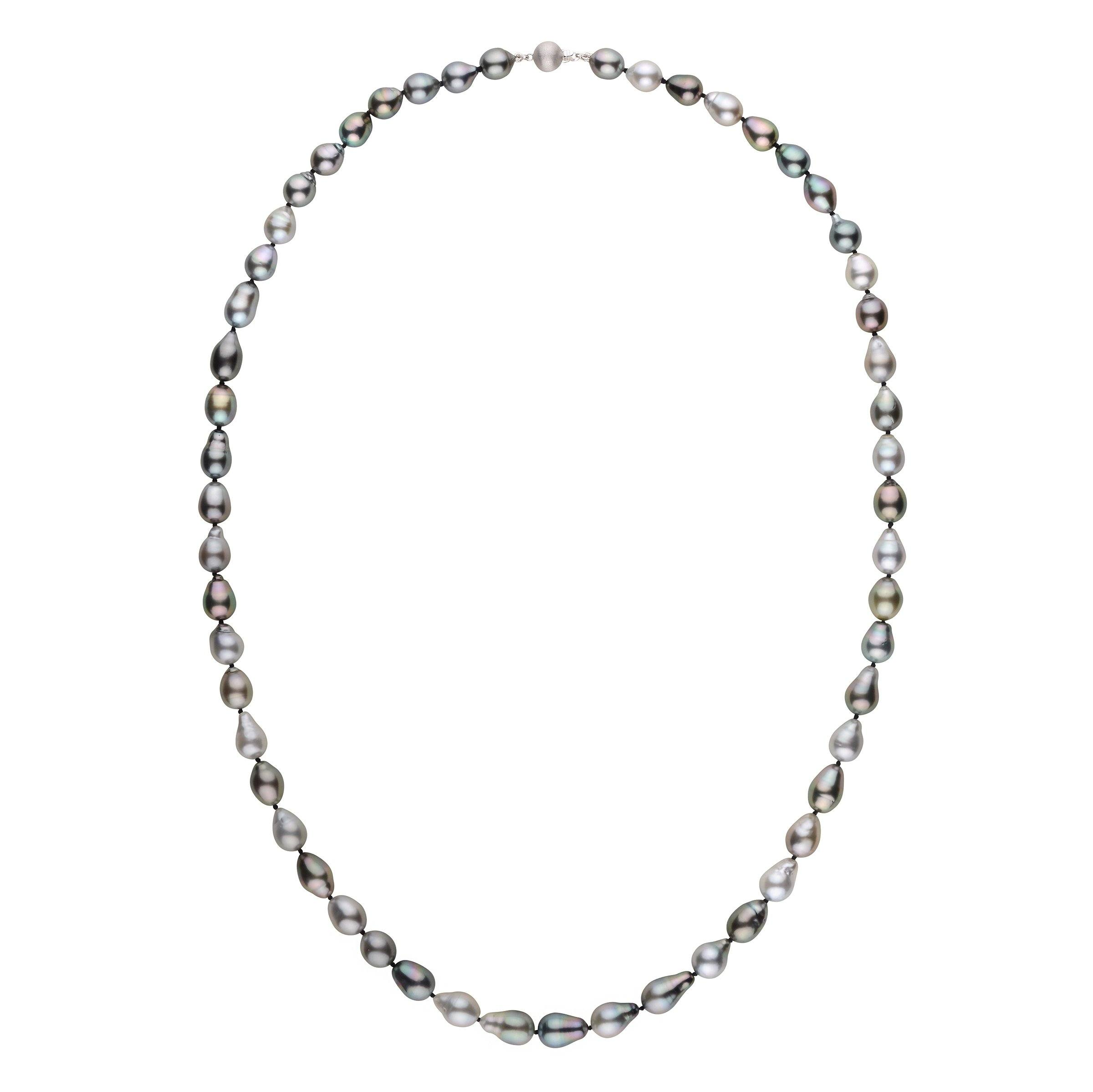 26 inch 8.0-9.0 mm AAA Drop Multicolor Tahitian Pearl Necklace