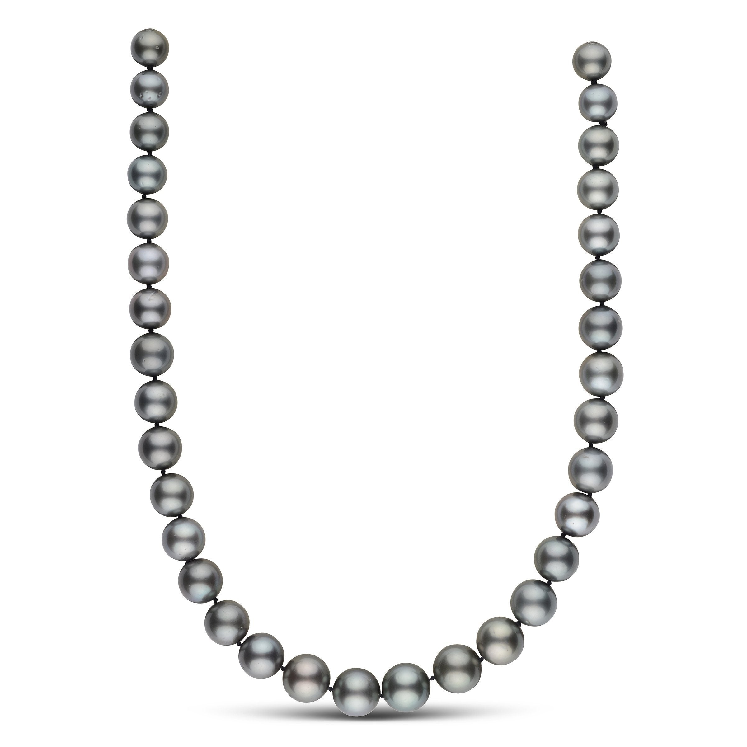 18 inch 10.4-12.7 mm AA+ Round Tahitian Pearl Necklace with Orbit Clasp
