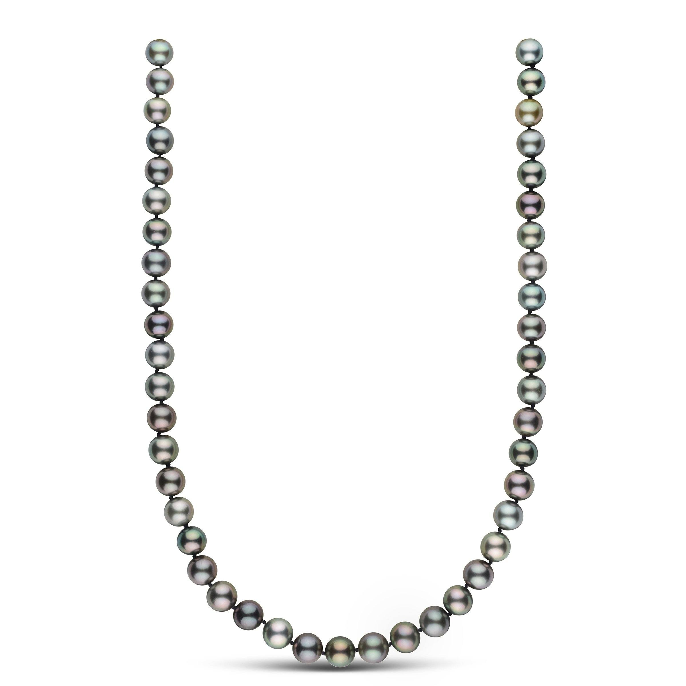 18 inch 9.0-9.8 mm AAA Round Multicolored Tahitian Pearl Necklace