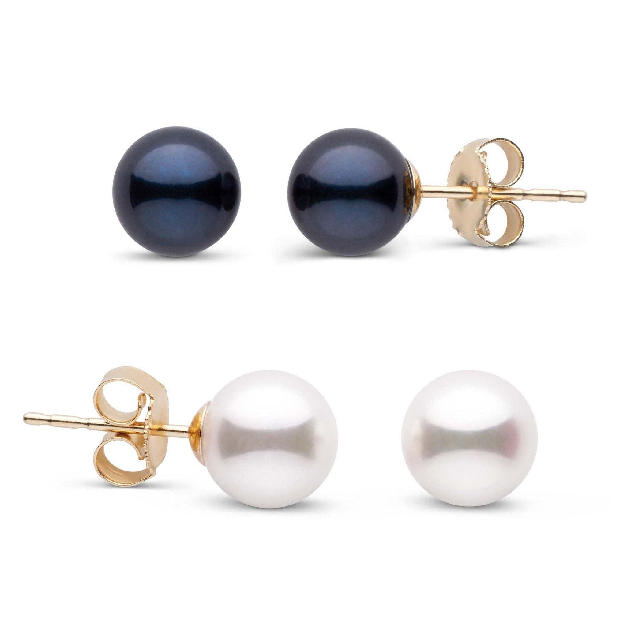 6.0-6.5 mm AA+ Black and White Akoya Pearl Stud Earring Set