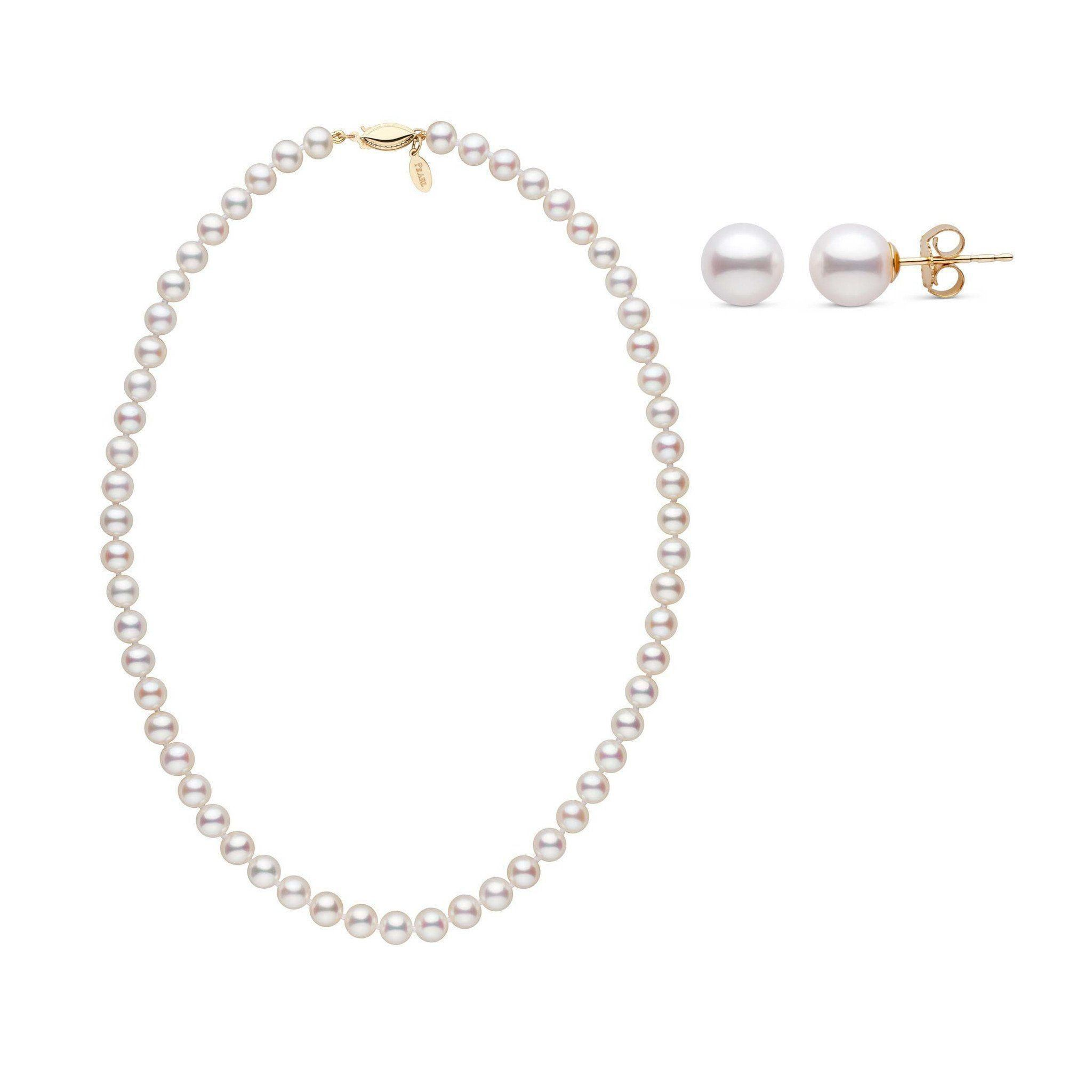 16 Inch 6.5-7.0 mm White Freshadama Freshwater Pearl Earrings and Necklace Set