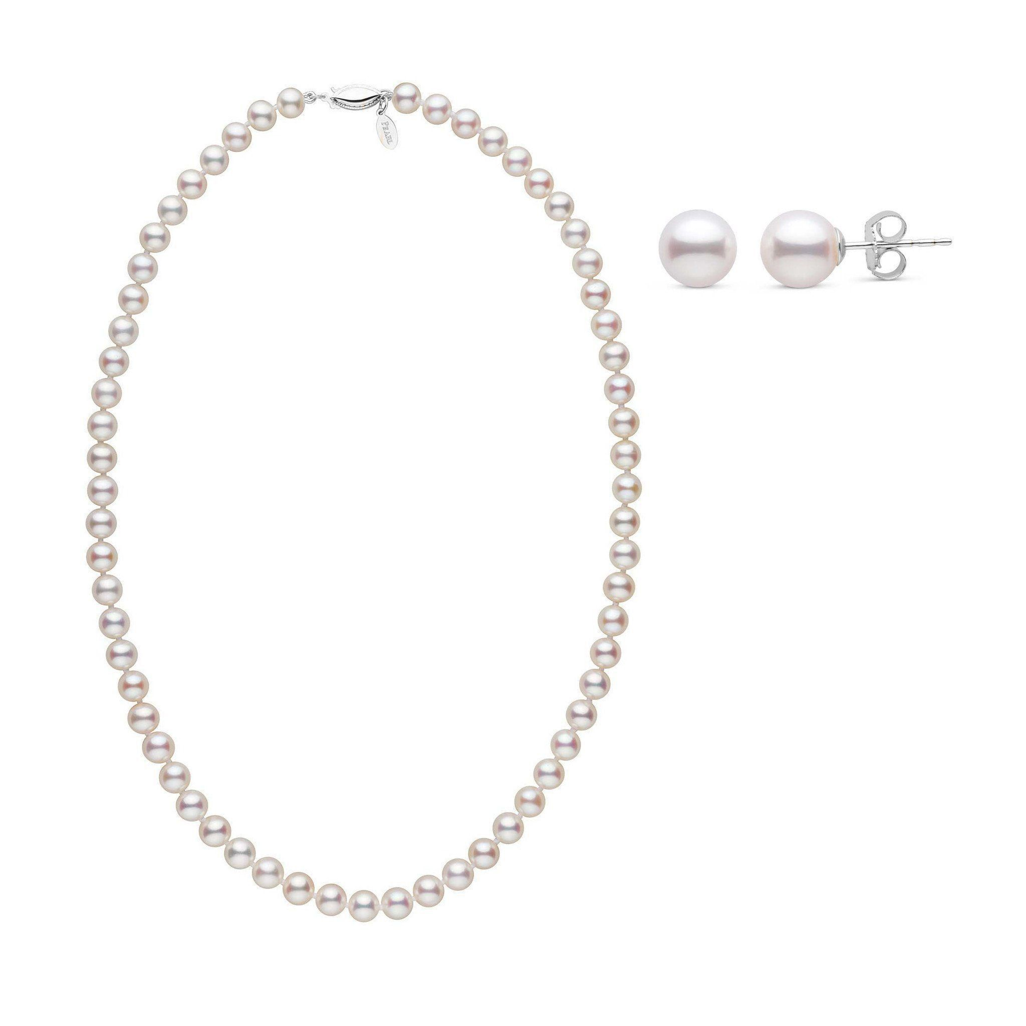 18 Inch 6.5-7.0 mm White Freshadama Pearl Necklace and Earring Set