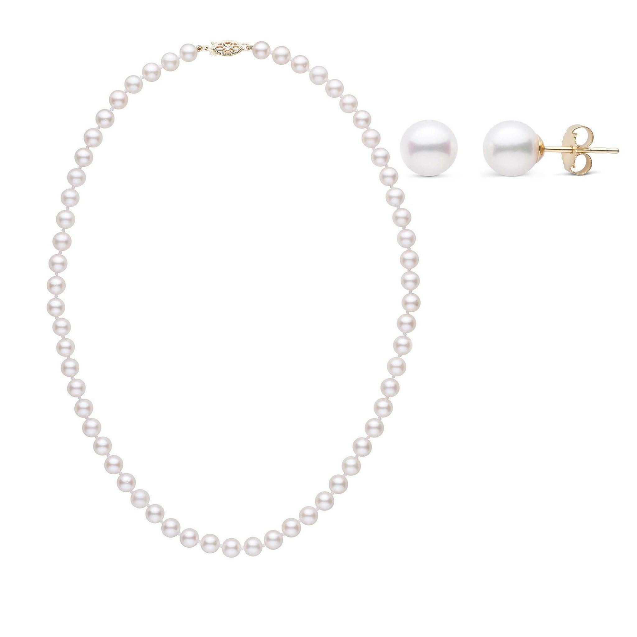 16 Inch 2 Piece Set of 6.0-6.5 mm AA+ White Akoya Pearls