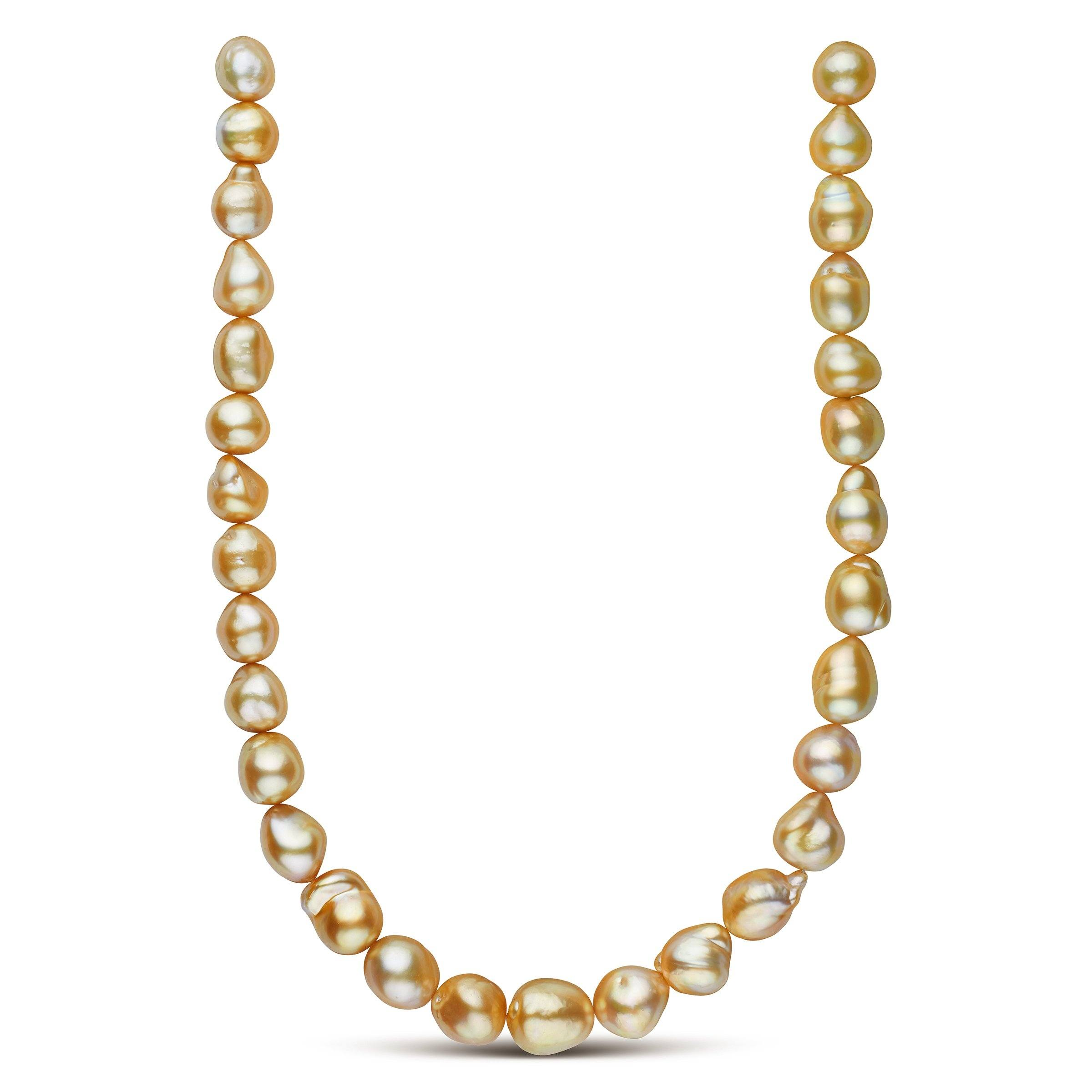 Freely-formed Philippine Gold South Sea Pearl Strand 11.2-14 .6 mm