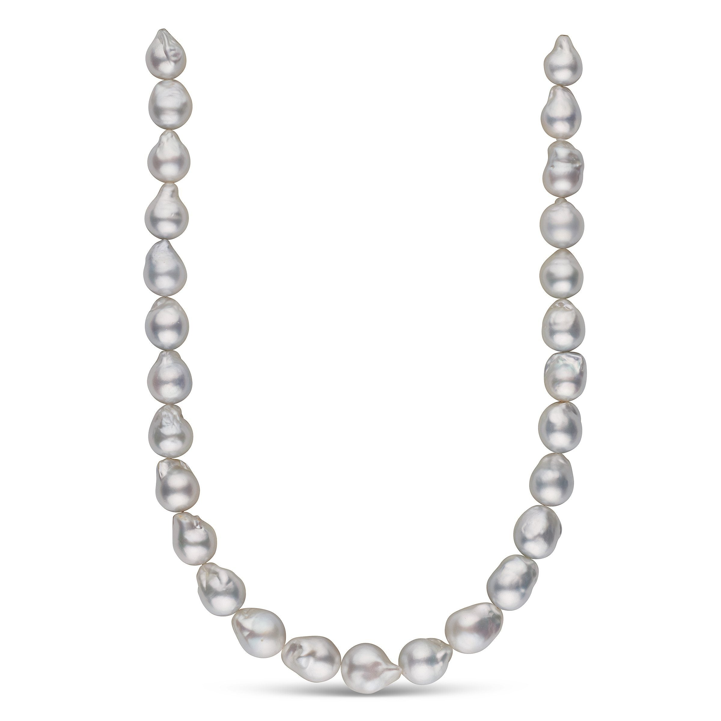 12.3-14.5 mm AA+/AAA White South Sea Baroque Pearl Necklace