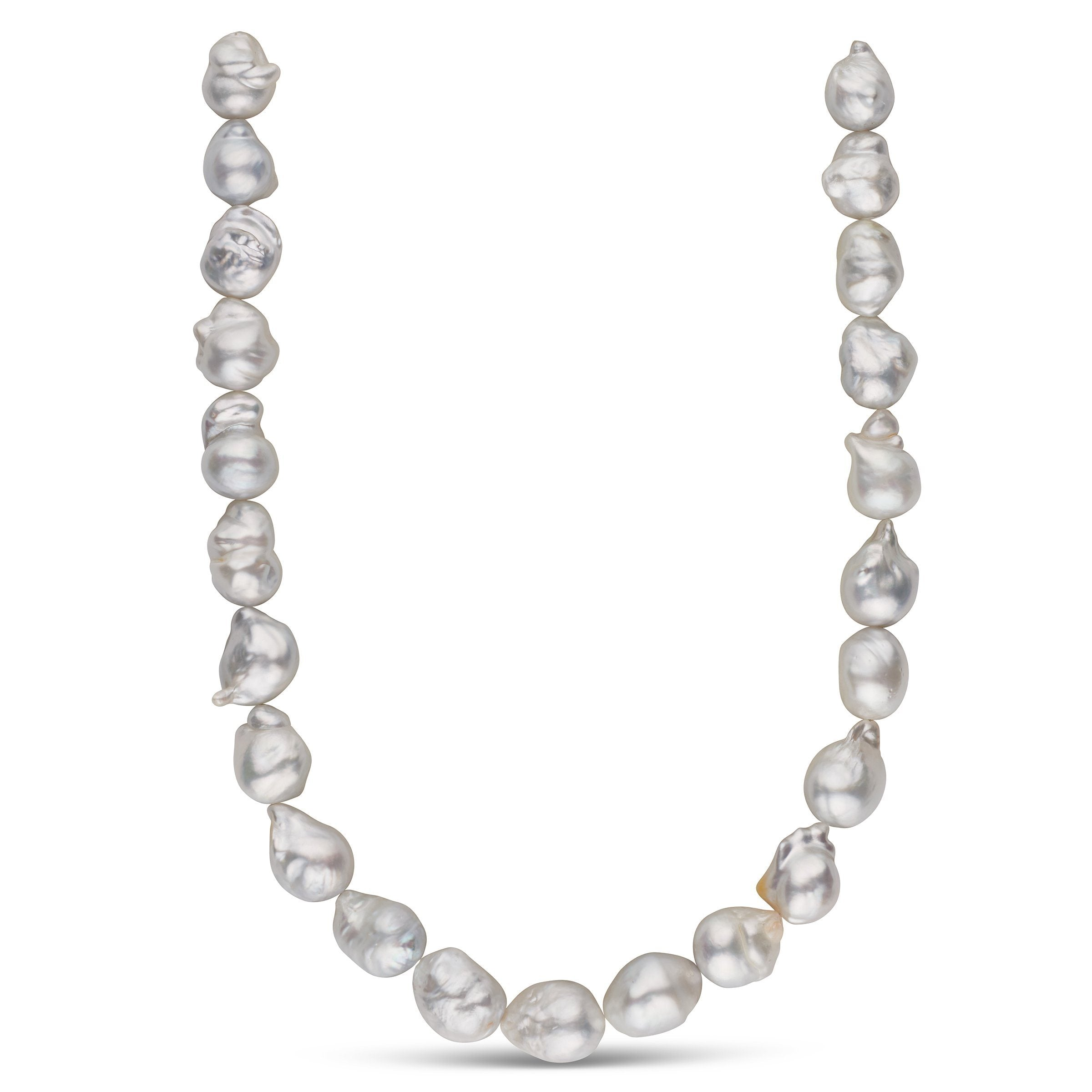 14.2-15.2 mm AA+/AAA White South Sea Baroque Pearl Necklace