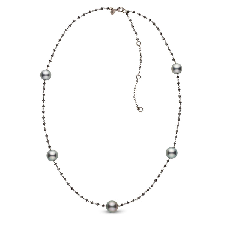 Adjustable 23-inch Black Diamond and Tahitian Pearl Tin Cup Style 18K Necklace
