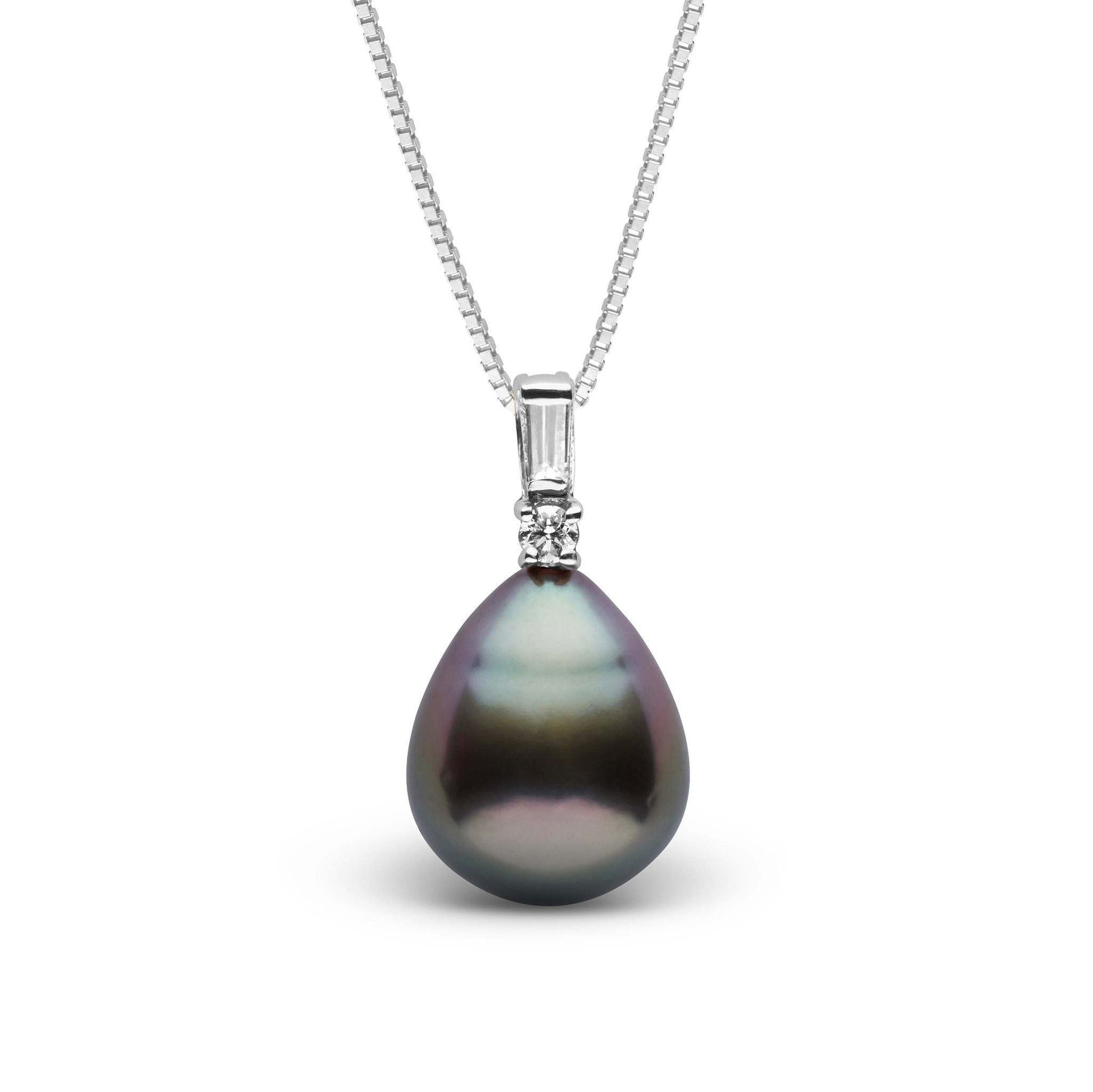 Adore Collection Drop 9.0-10.0 mm Tahitian Pearl and Diamond Pendant