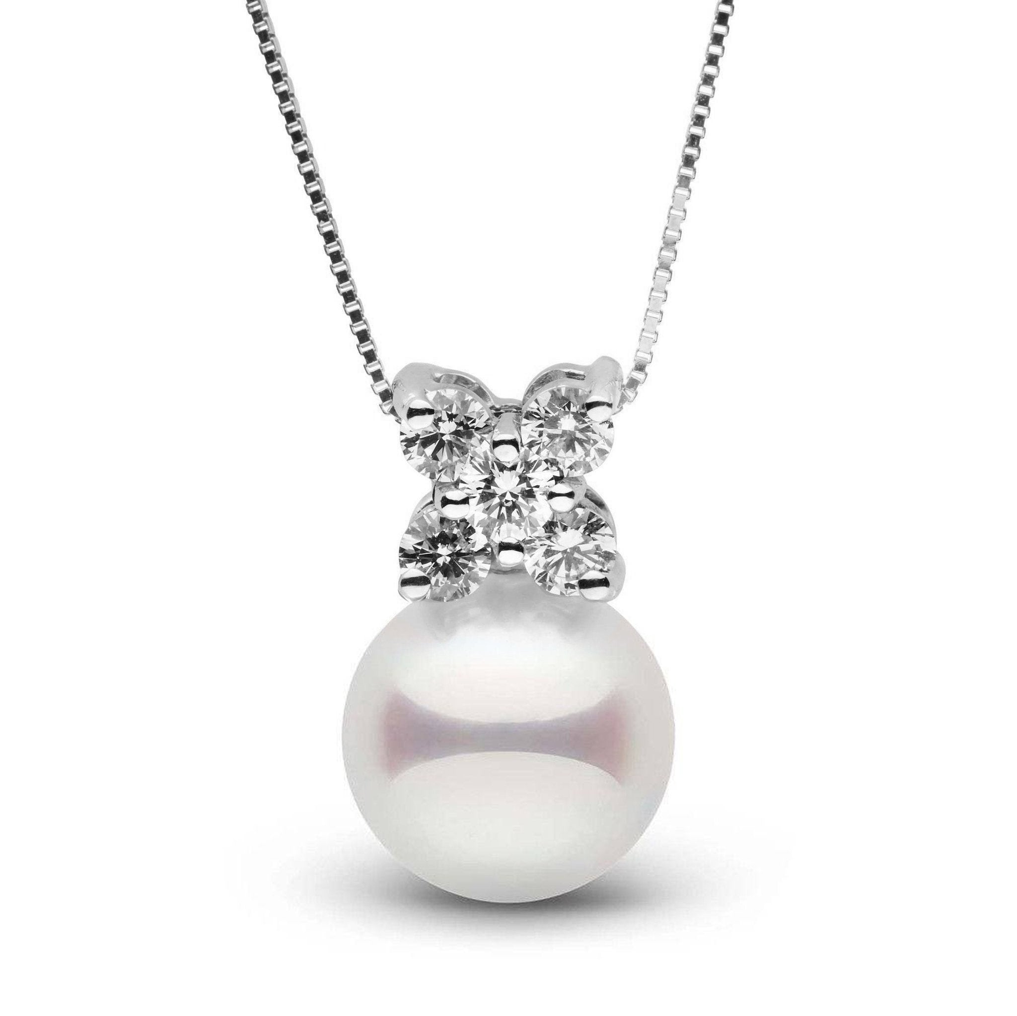 Kiss Collection White 9.0-9.5 mm Akoya Pearl and Diamond Pendant