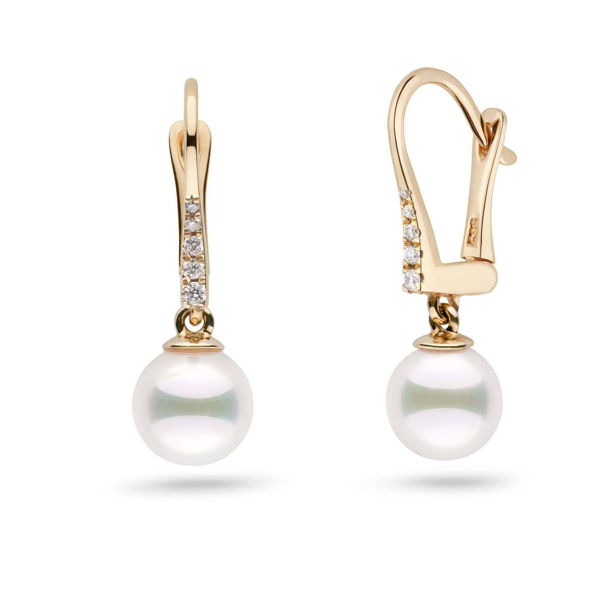 Allure Collection Akoya 7.0-7.5 mm Pearl & Diamond Dangle Earrings