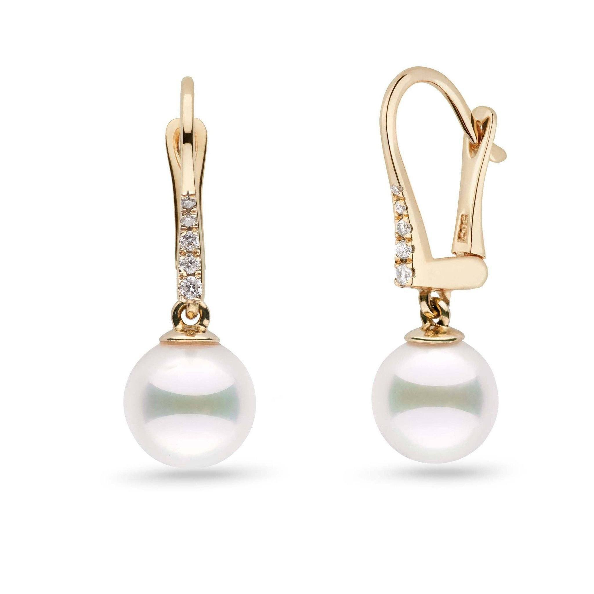 Allure Collection Akoya 8.0-8.5 mm Pearl & Diamond Dangle Earrings