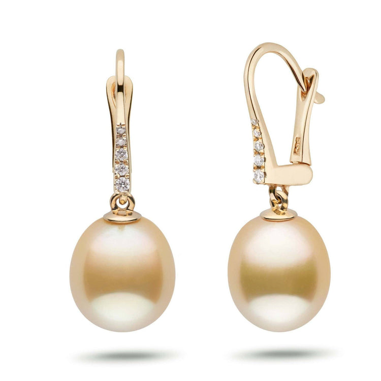 Allure Collection Drop Golden South Sea 10.0-11.0 mm Pearl & Diamond Dangle Earrings