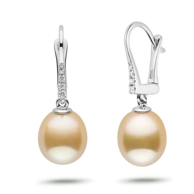 Allure Collection Drop Golden South Sea 9.0-10.0 mm Pearl & Diamond Dangle Earrings