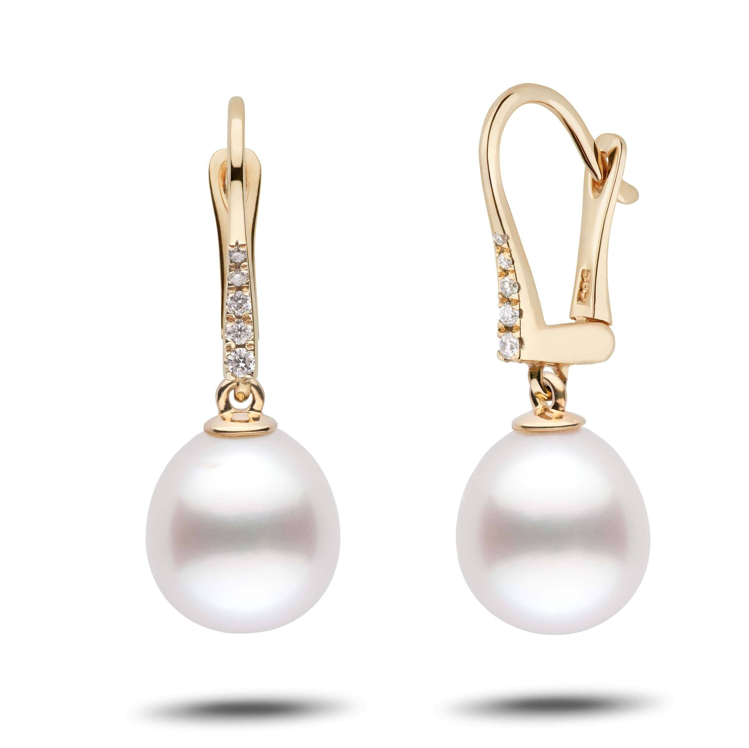 Allure Collection Drop White South Sea 9.0-10.0 mm Pearl & Diamond Dangle Earrings