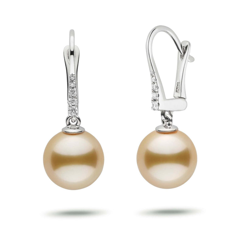 Allure Collection Golden South Sea 10.0-11.0 mm Pearl & Diamond Dangle Earrings