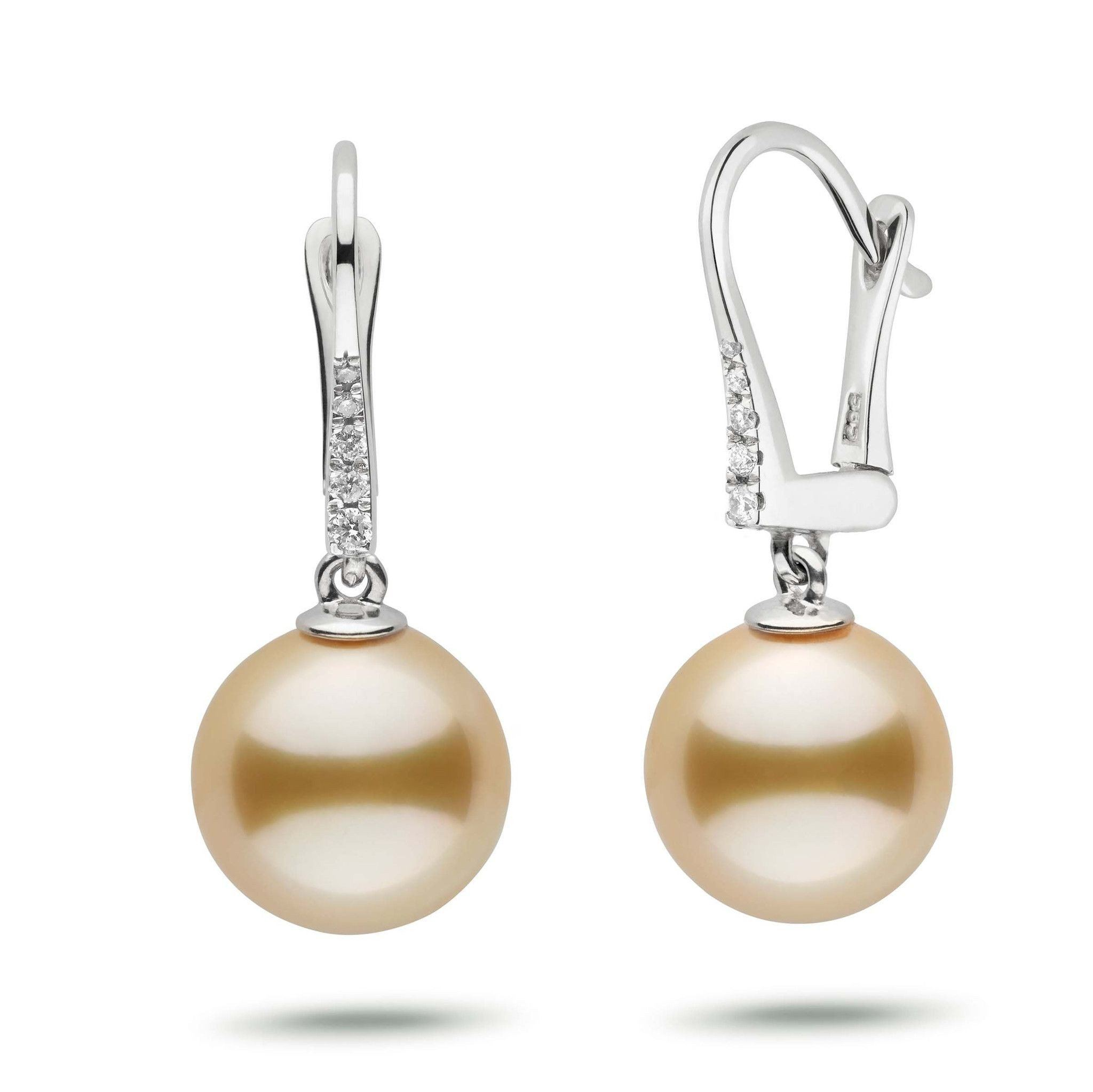Allure Collection Golden South Sea 11.0-12.0 mm Pearl & Diamond Dangle Earrings